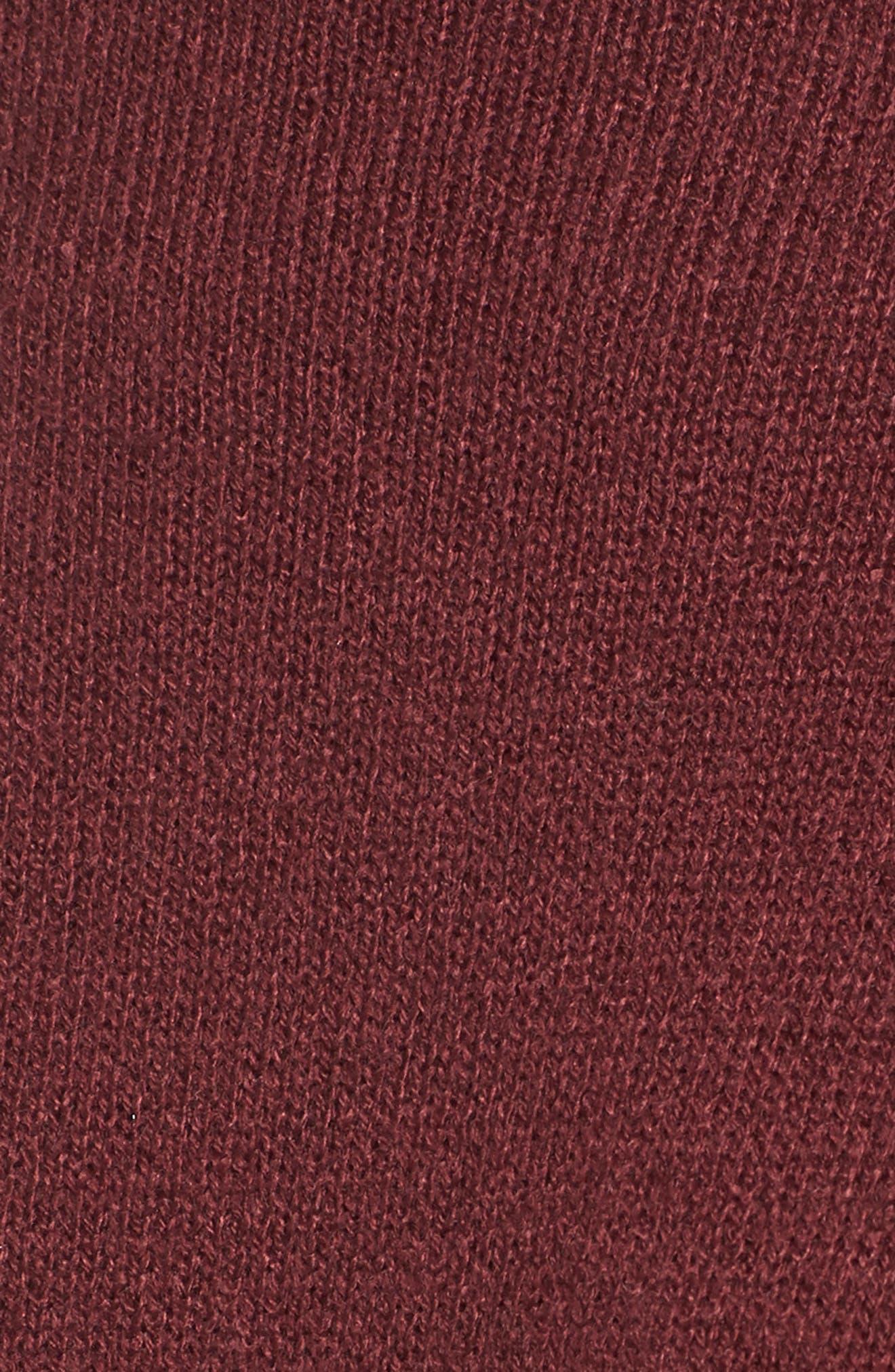 Ruffle Knit Sweater Dress,                             Alternate thumbnail 5, color,                             Burgundy Royale