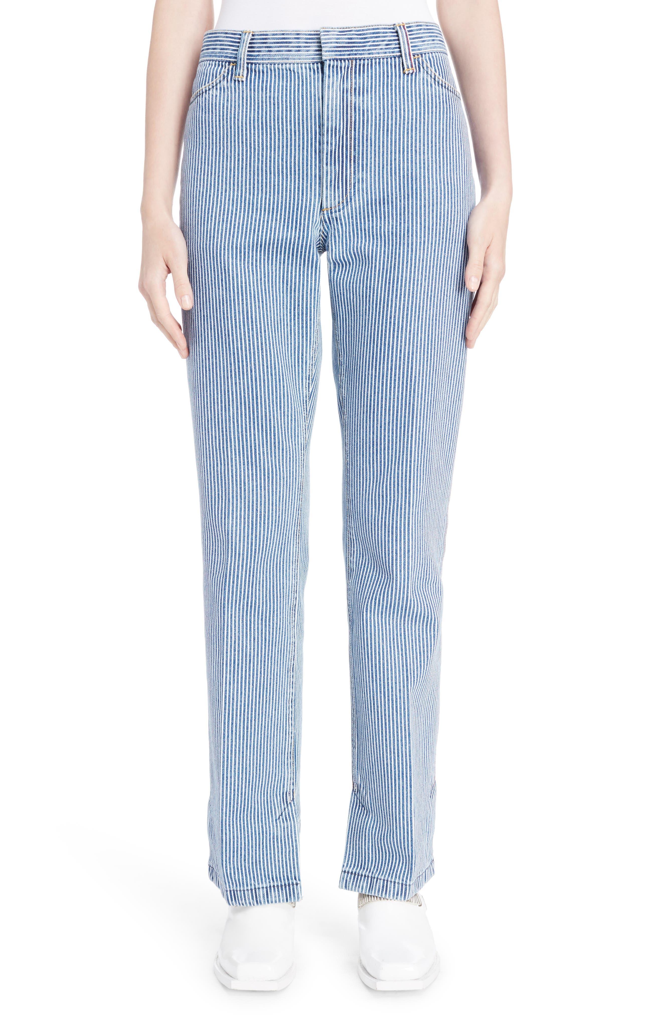 Alternate Image 1 Selected - TOGA Stripe Straight Leg Jeans (Navy White)