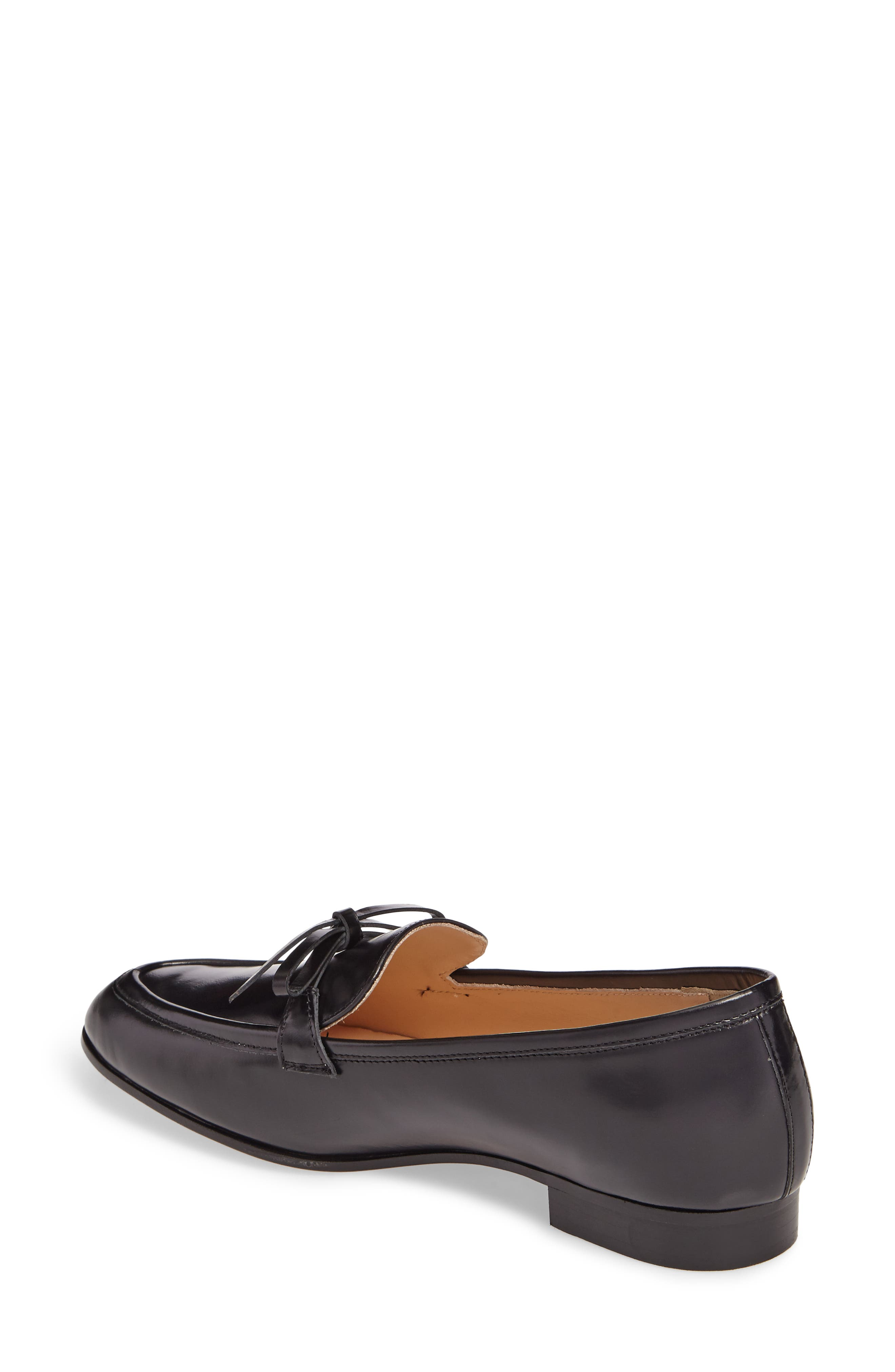 Bow Loafer,                             Alternate thumbnail 2, color,                             Black Leather