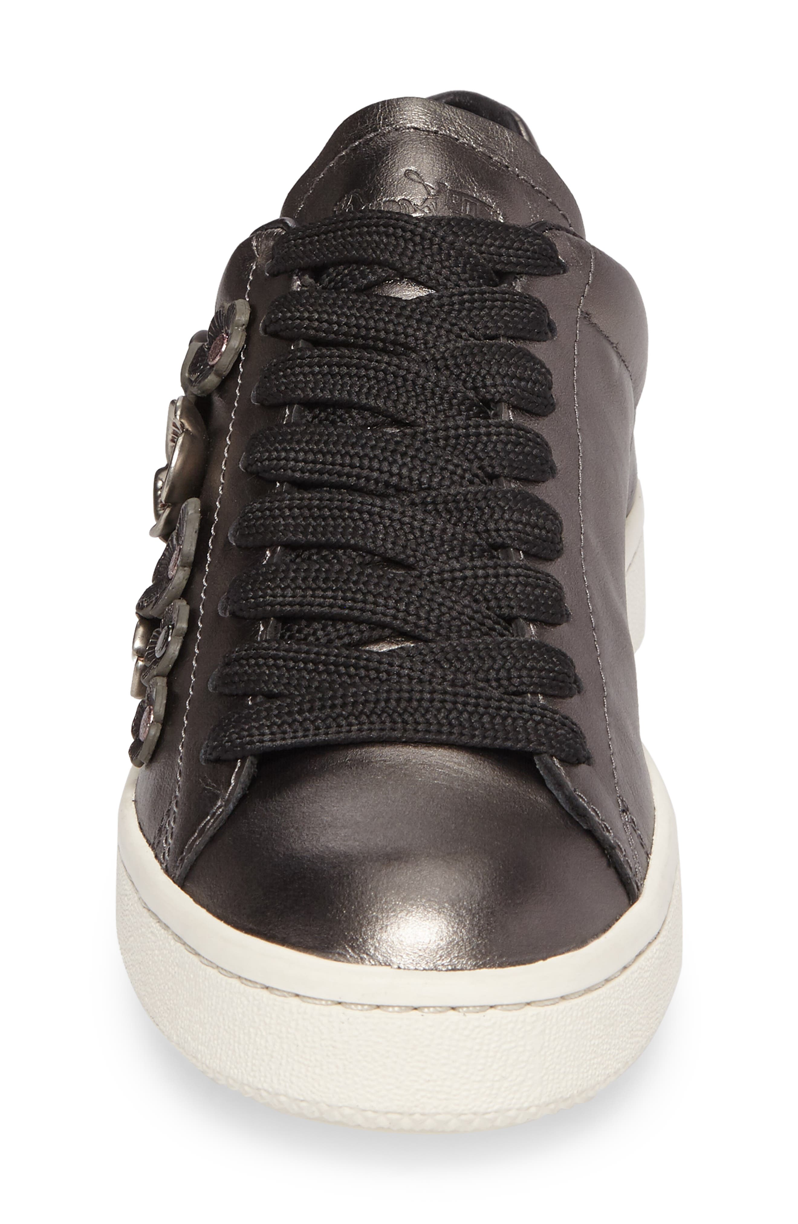 Tea Rose Metallic Sneaker,                             Alternate thumbnail 4, color,                             Gunmetal Leather