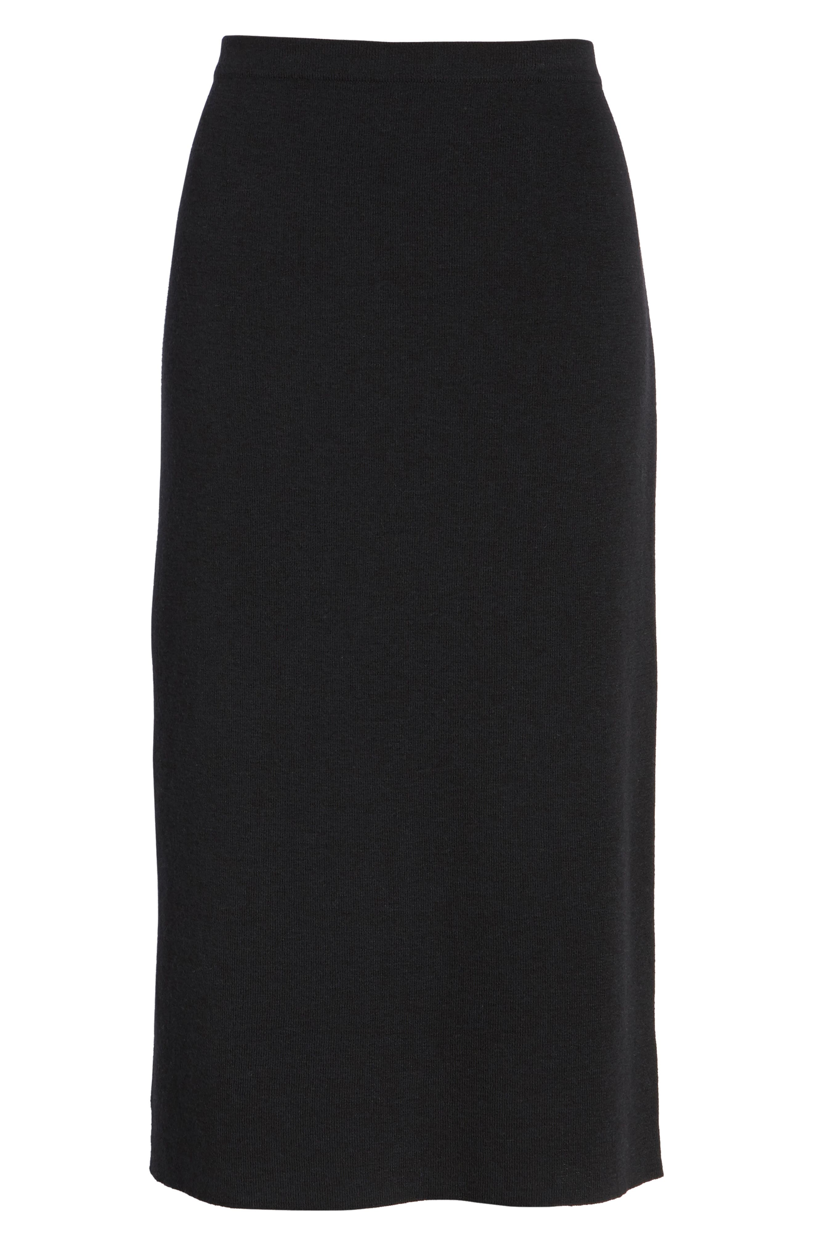 Wool Knit Pencil Skirt,                         Main,                         color, Black