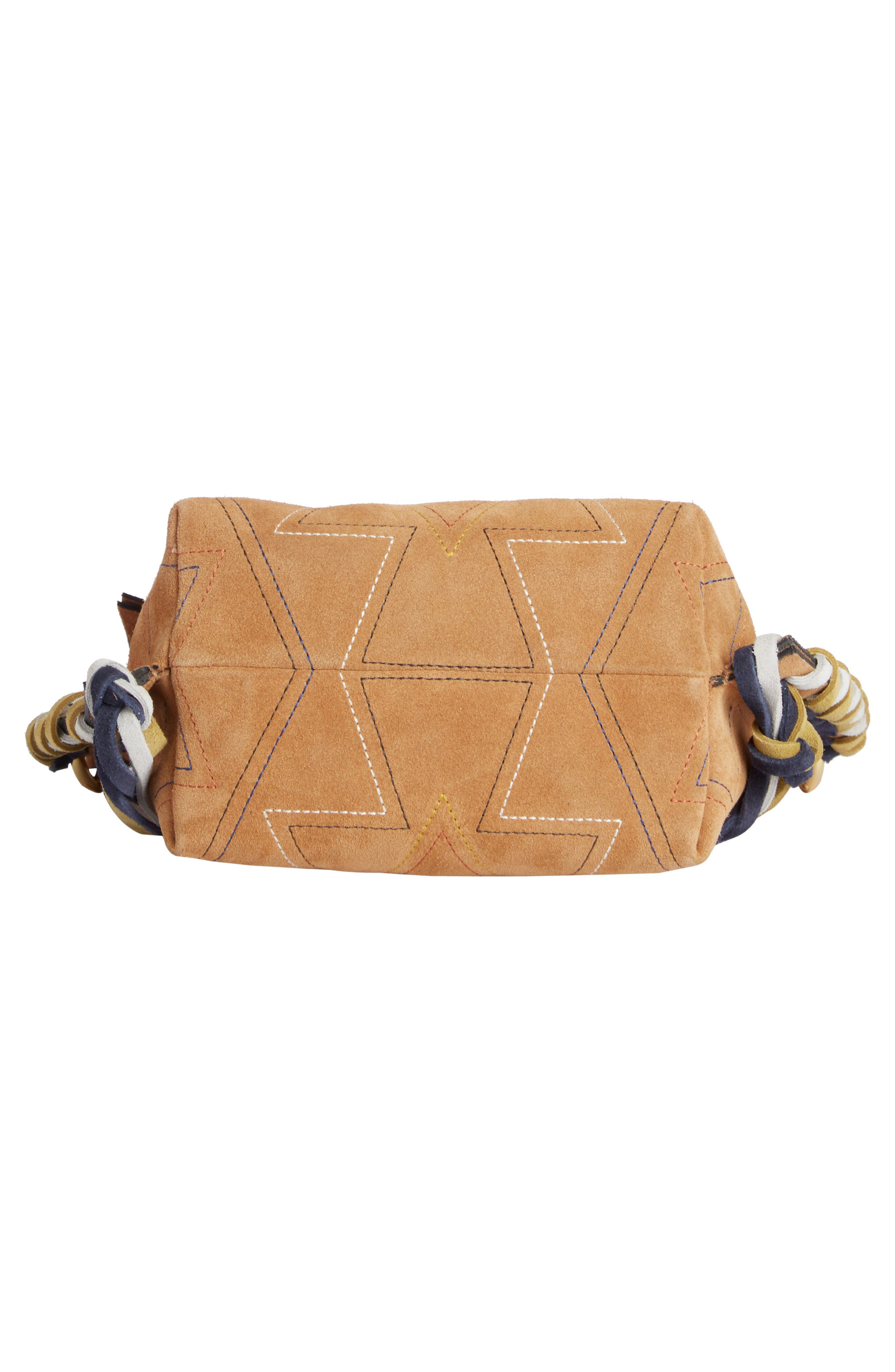 Fangoh Stitched Suede Crossbody Bag,                             Alternate thumbnail 4, color,                             Terracotta