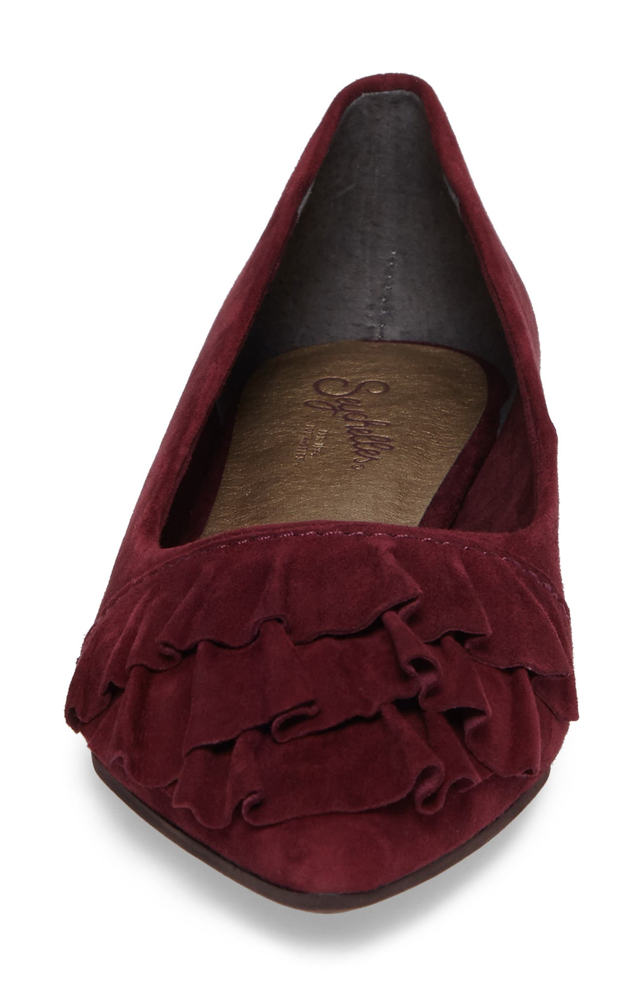 Downstage Pointy Toe Flat,                             Alternate thumbnail 5, color,                             Burgundy Suede
