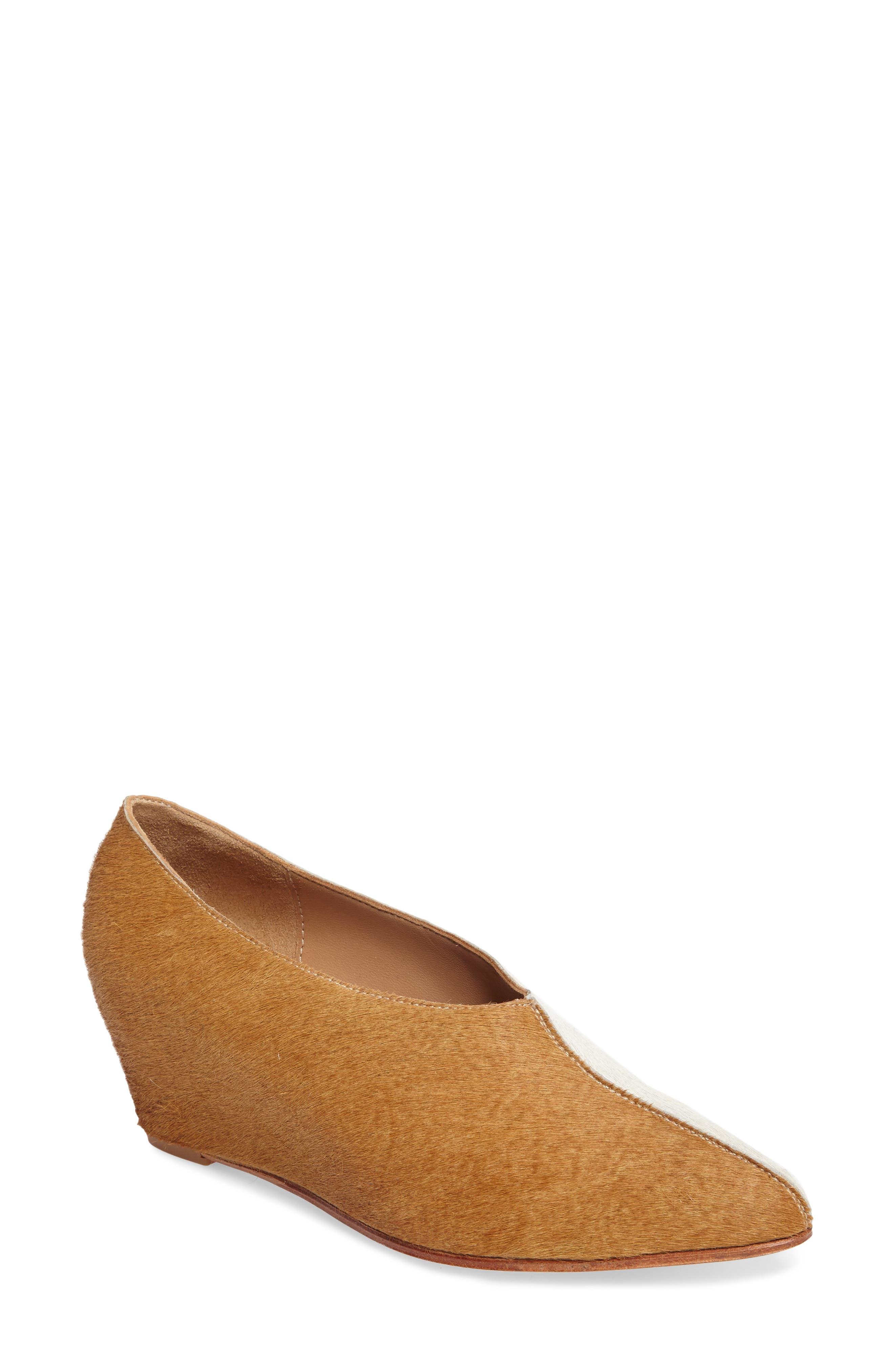 Lorenze Genuine Calf Hair Wedge,                             Main thumbnail 1, color,                             Cork/ White