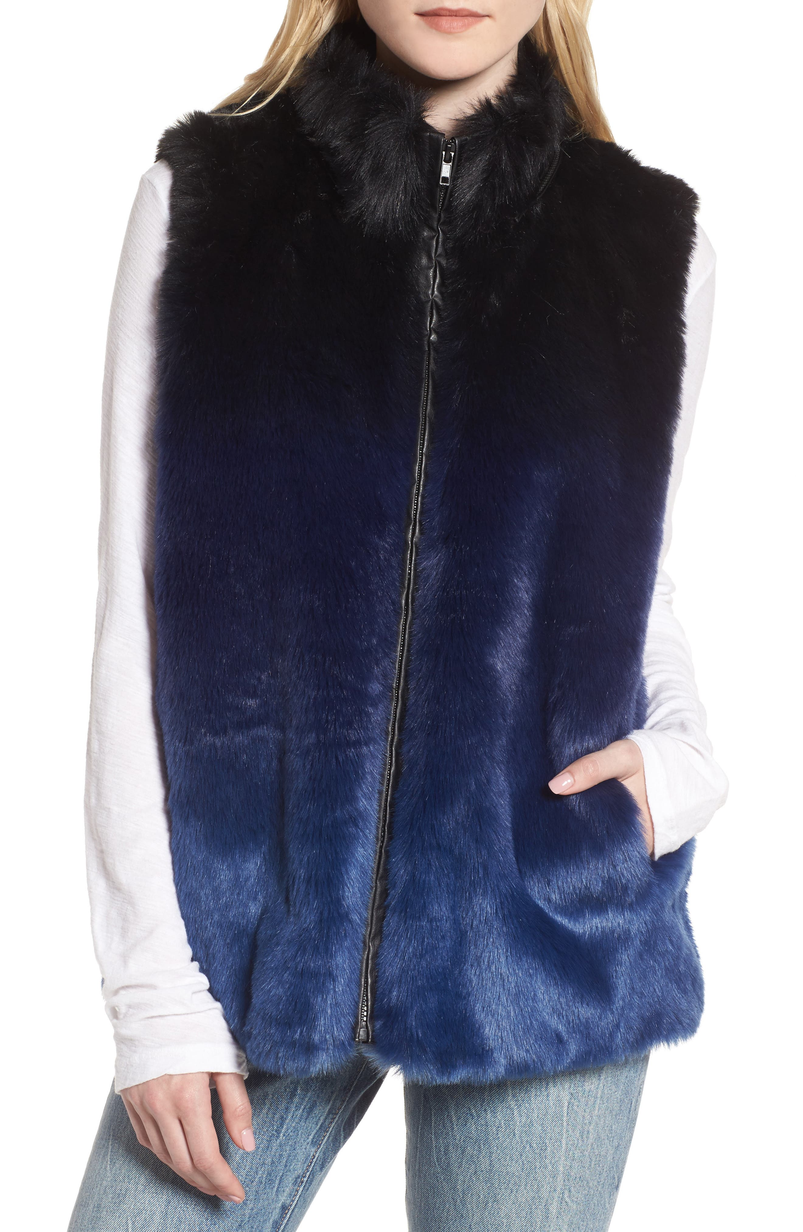 Ryan Ombré Faux Fur Hooded Vest,                             Alternate thumbnail 4, color,                             Blue