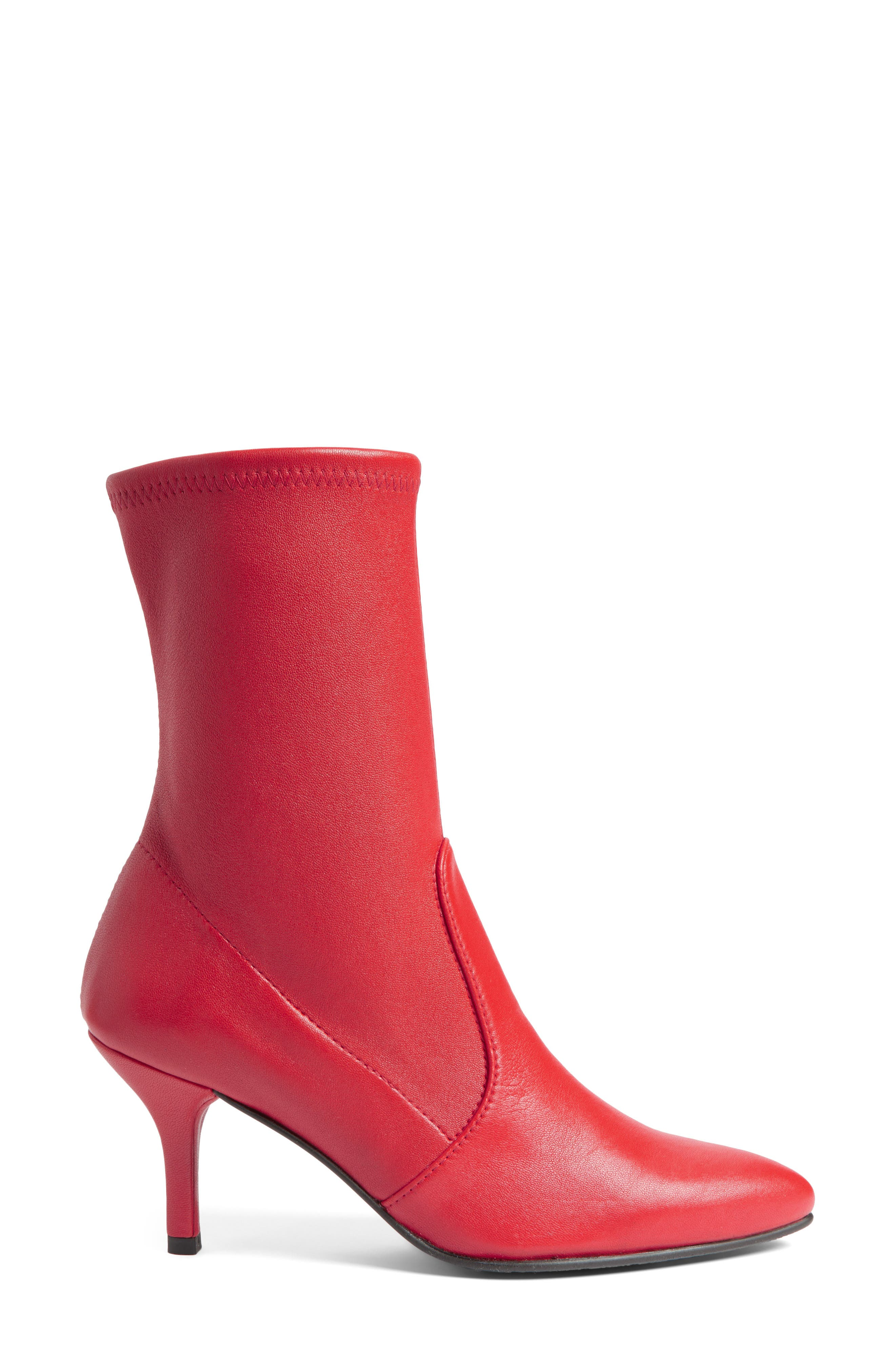 Cling Stretch Bootie,                             Alternate thumbnail 3, color,                             Red Plonge Stretch