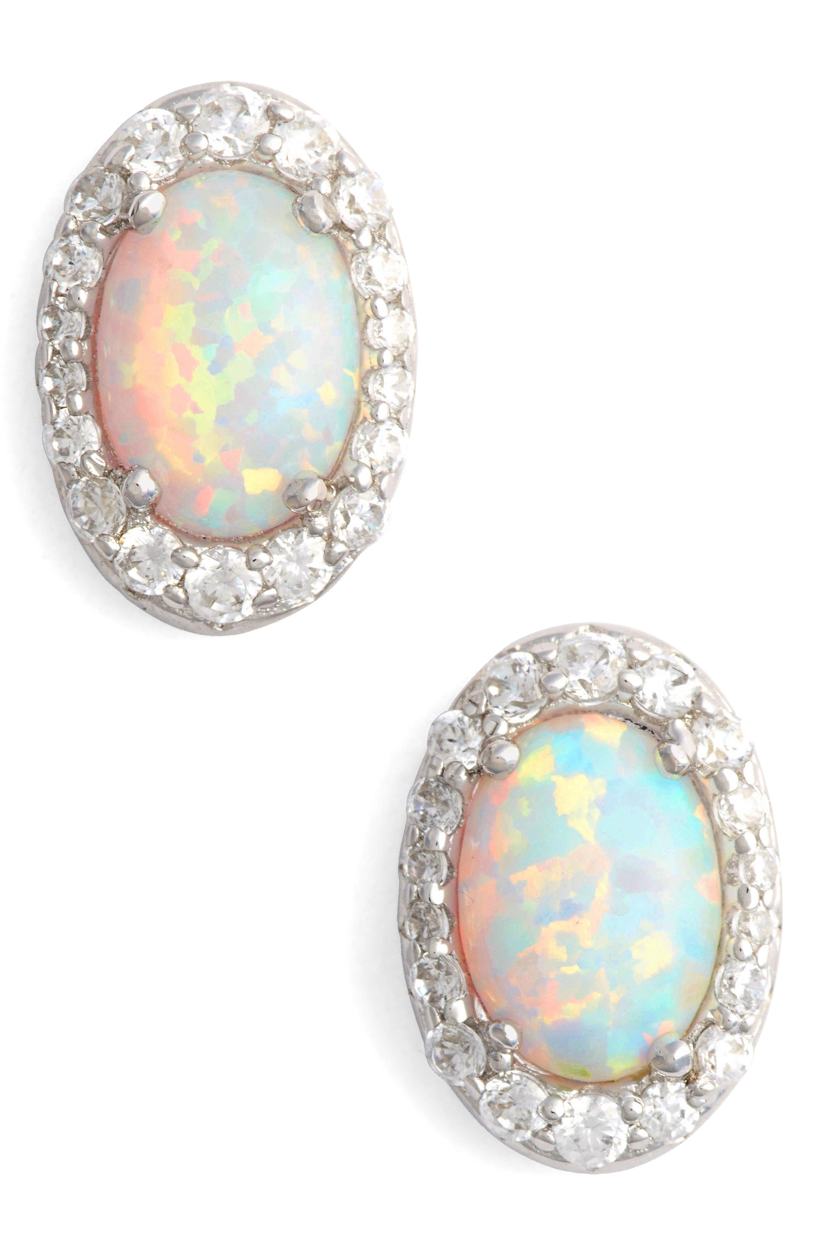 Simulated Opal Halo Stud Earrings,                             Main thumbnail 1, color,                             Silver/ Opal/ Clear
