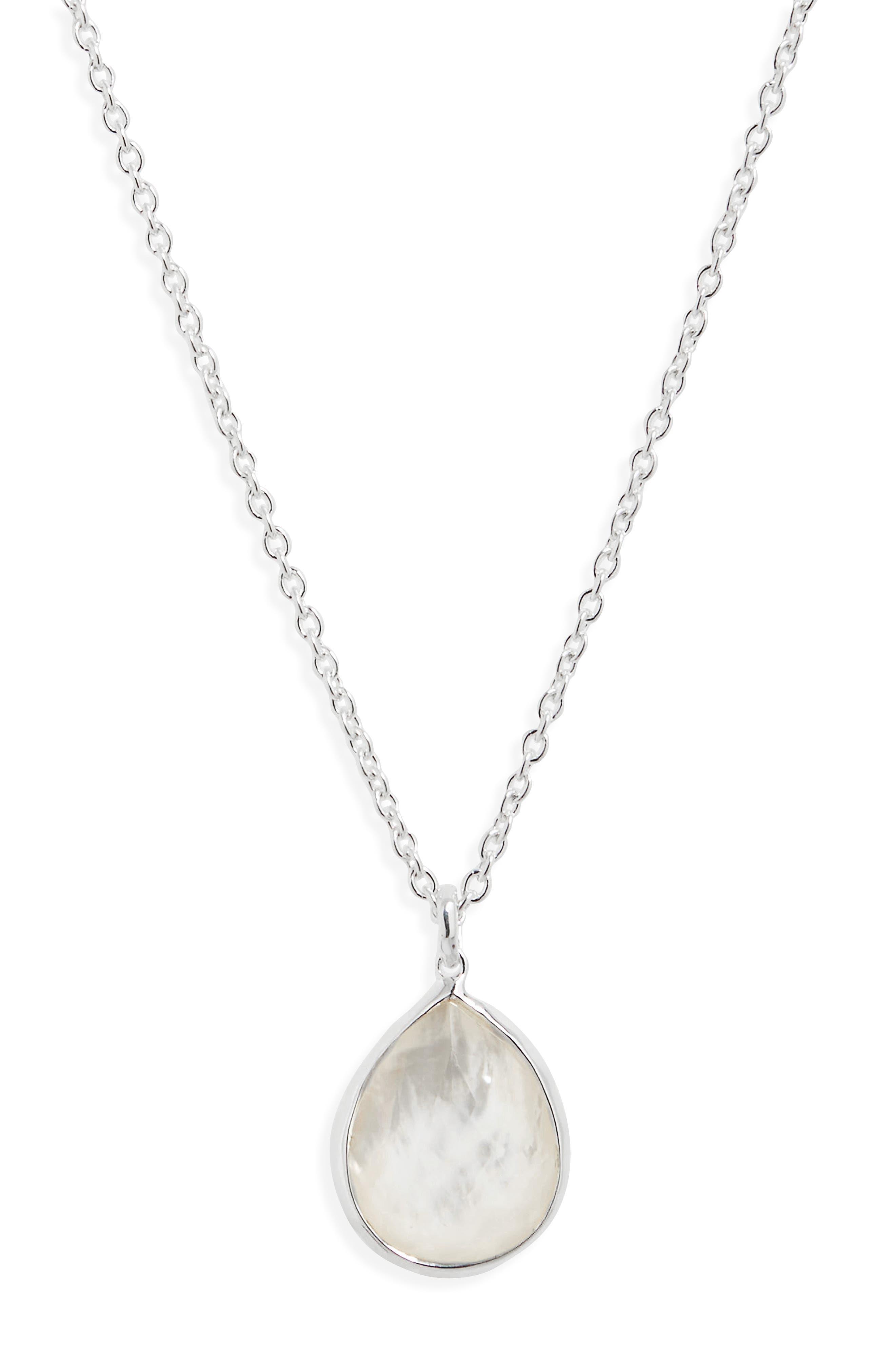 'Wonderland' Mini Teardrop Pendant Necklace,                             Main thumbnail 1, color,                             Mother Of Pearl