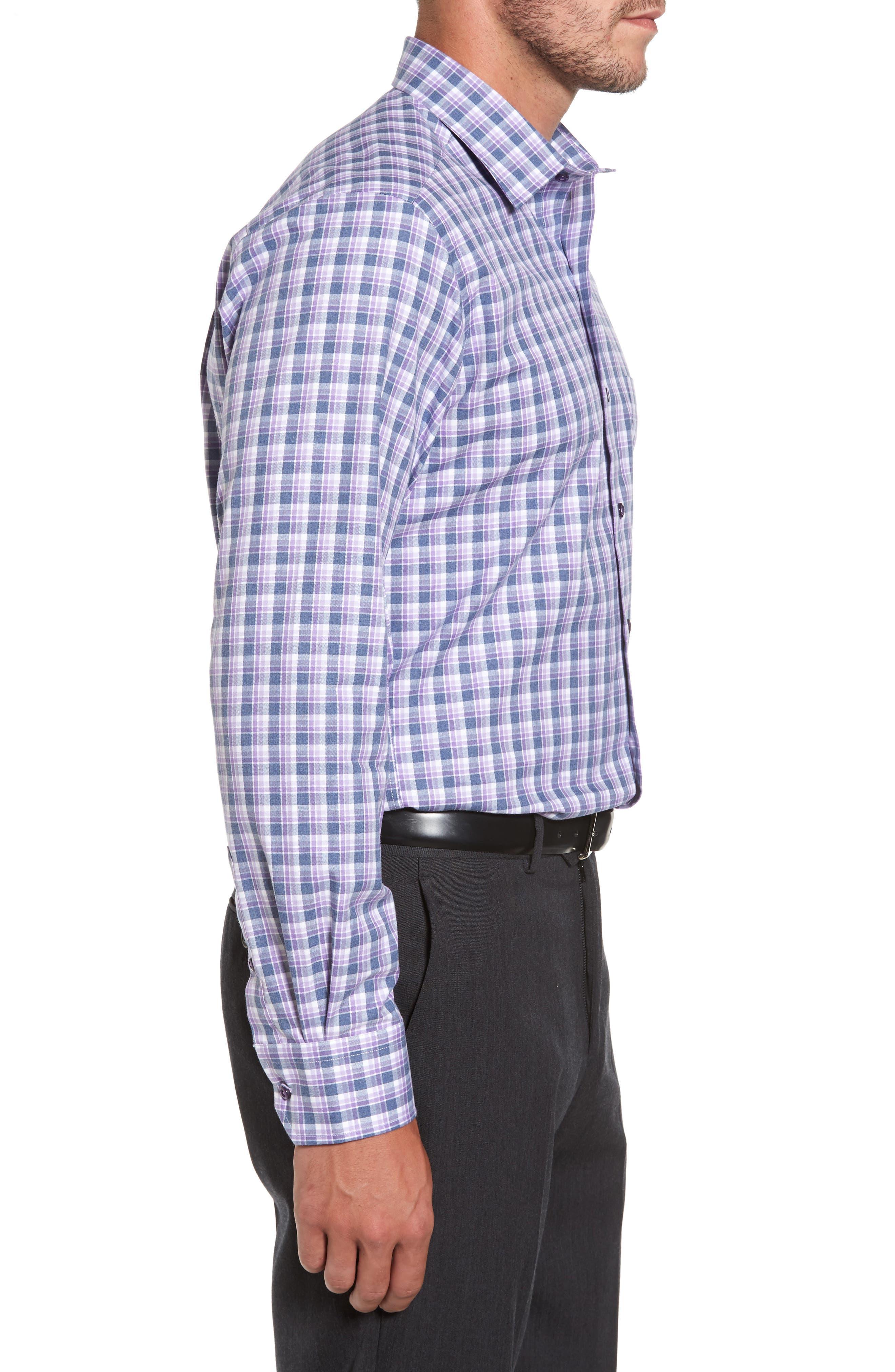 Plaid Herringbone Sport Shirt,                             Alternate thumbnail 4, color,                             Blue/ Purple