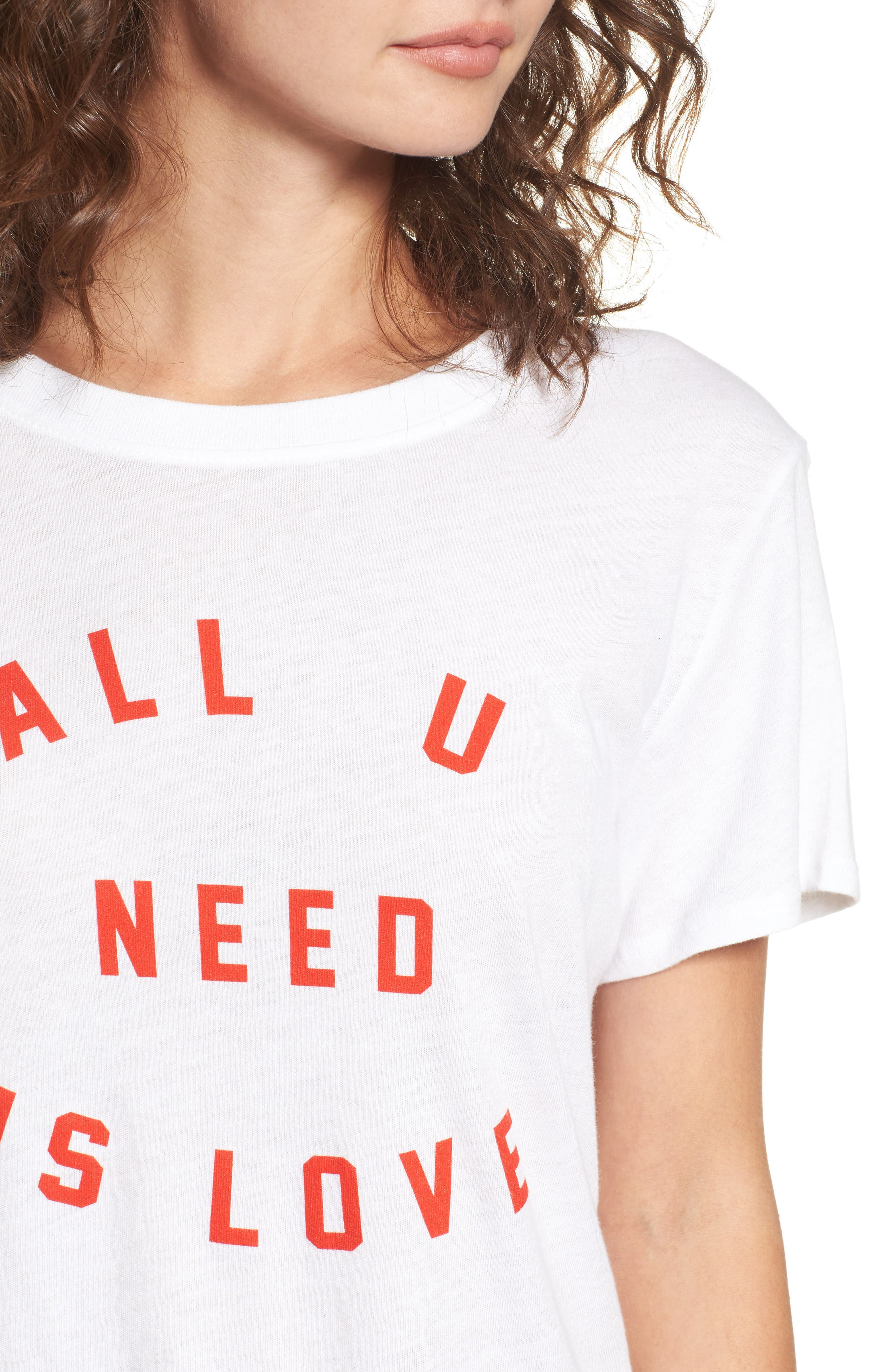 All U Need Is Love Graphic Tee,                             Alternate thumbnail 4, color,                             White