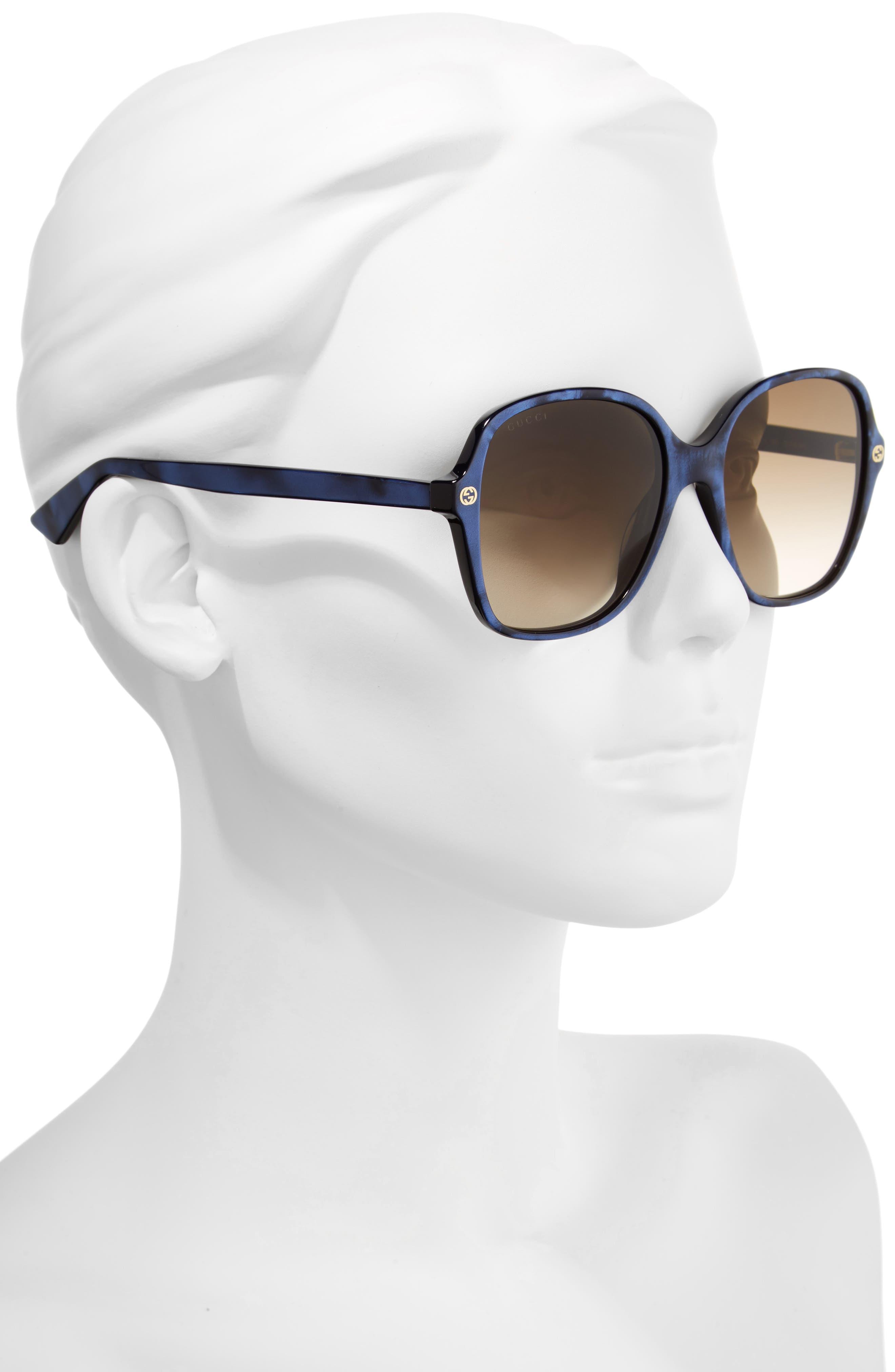 55mm Gradient Sunglasses,                             Alternate thumbnail 2, color,                             Blue/ Brown