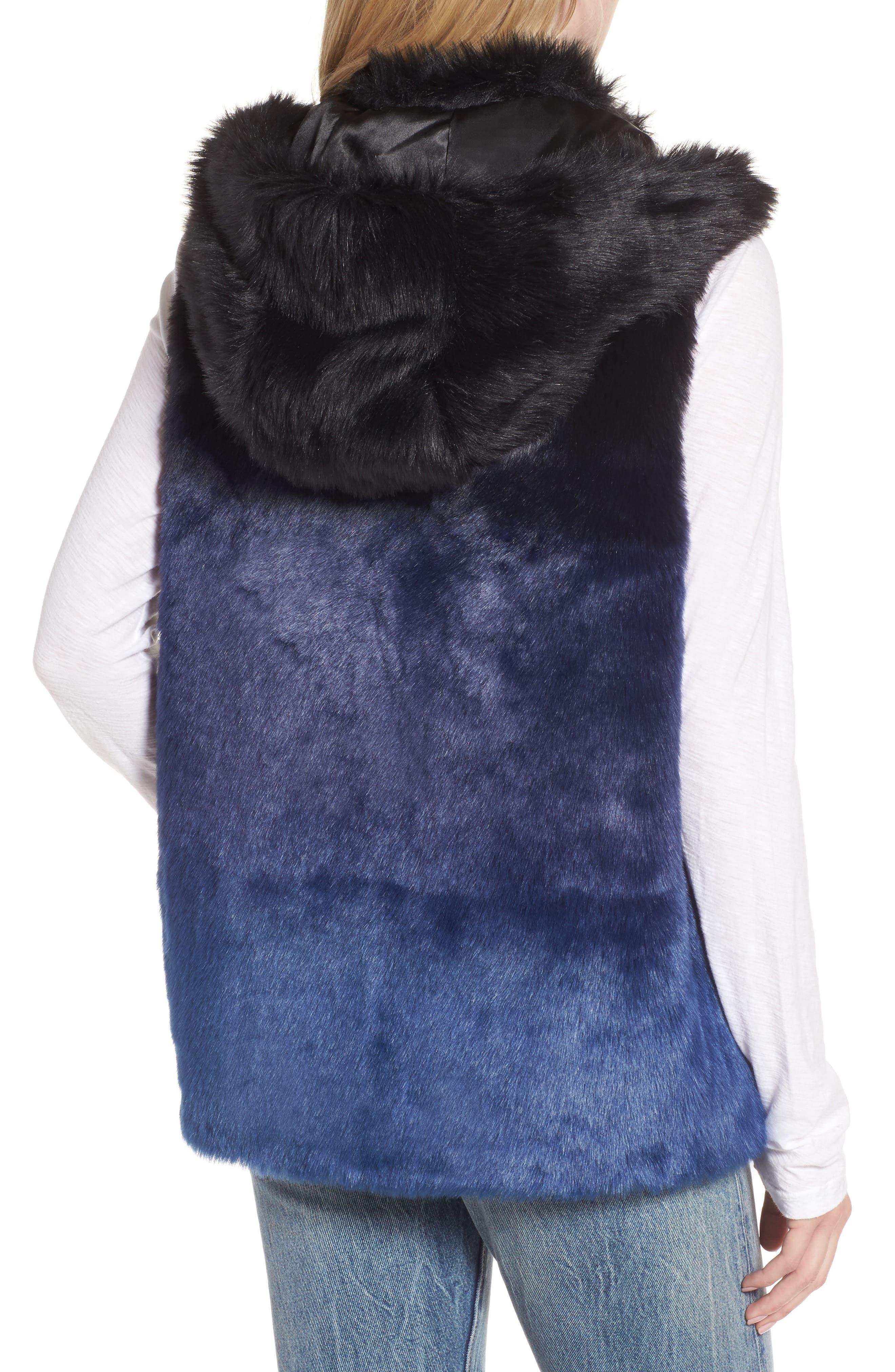 Ryan Ombré Faux Fur Hooded Vest,                             Alternate thumbnail 2, color,                             Blue
