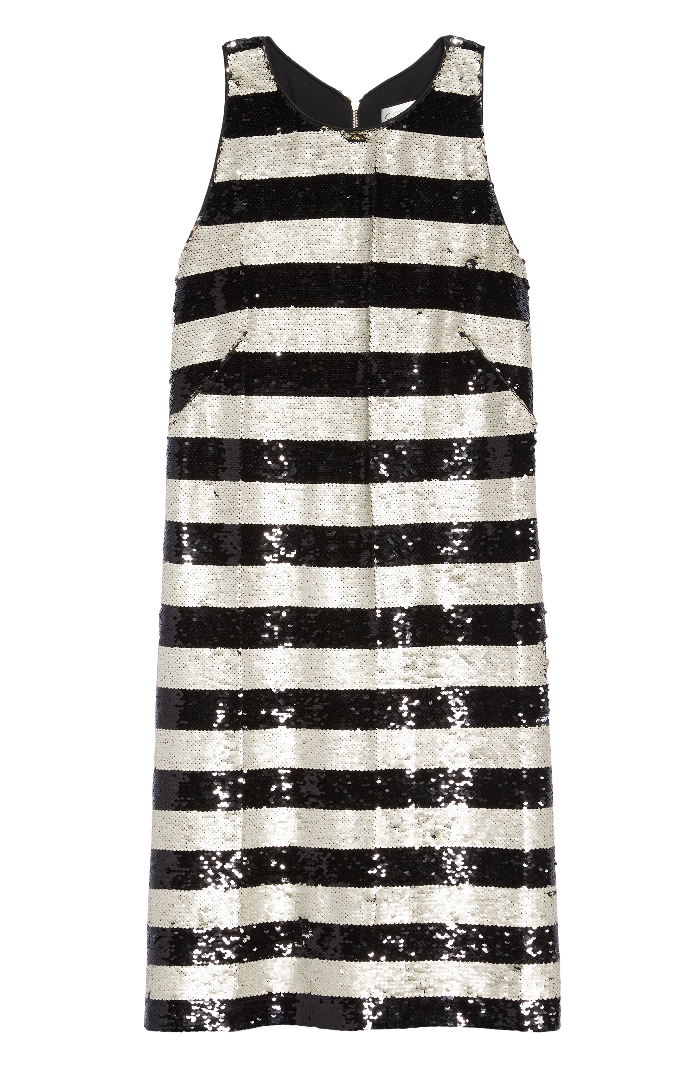 Alternate Image 6  - Eliza J Reversible Stripe Sequin Shift Dress