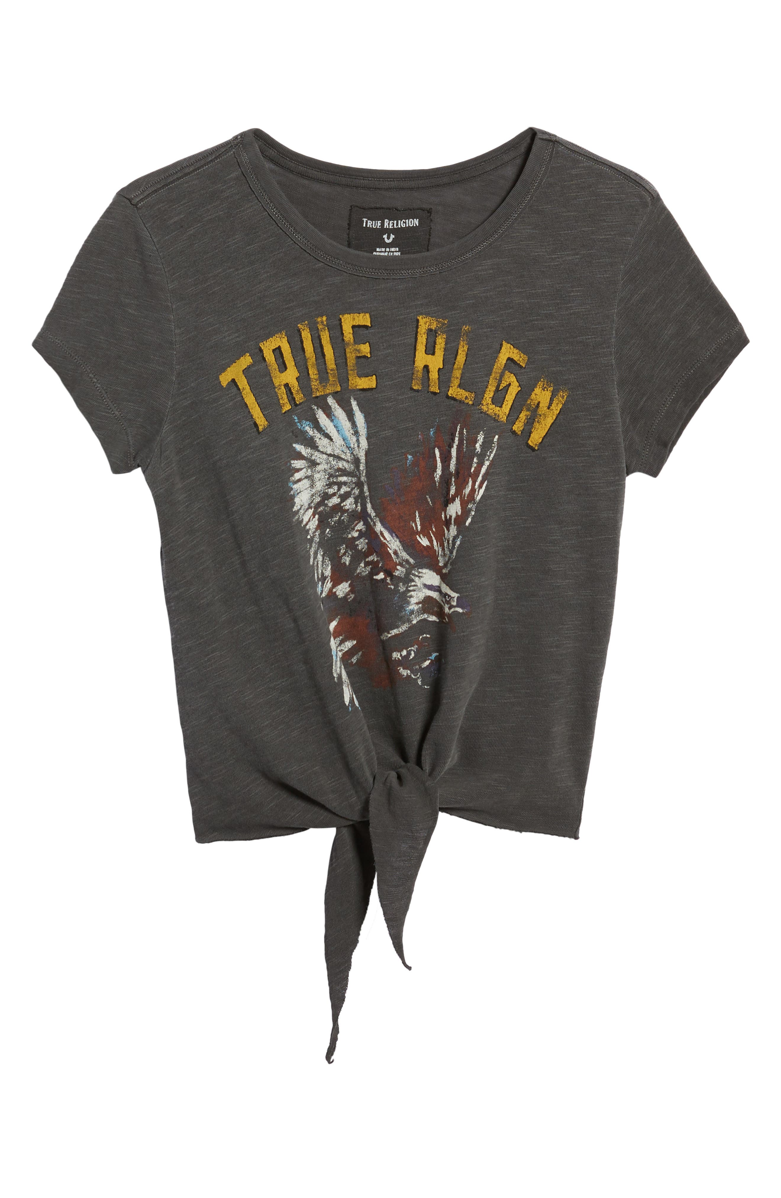 Eagle Tie Front Tee,                             Alternate thumbnail 6, color,                             Charcoal