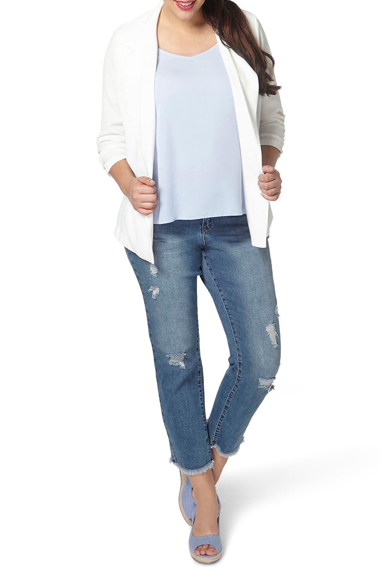 Alternate Image 4  - Evans Crepe Blazer (Plus Size)