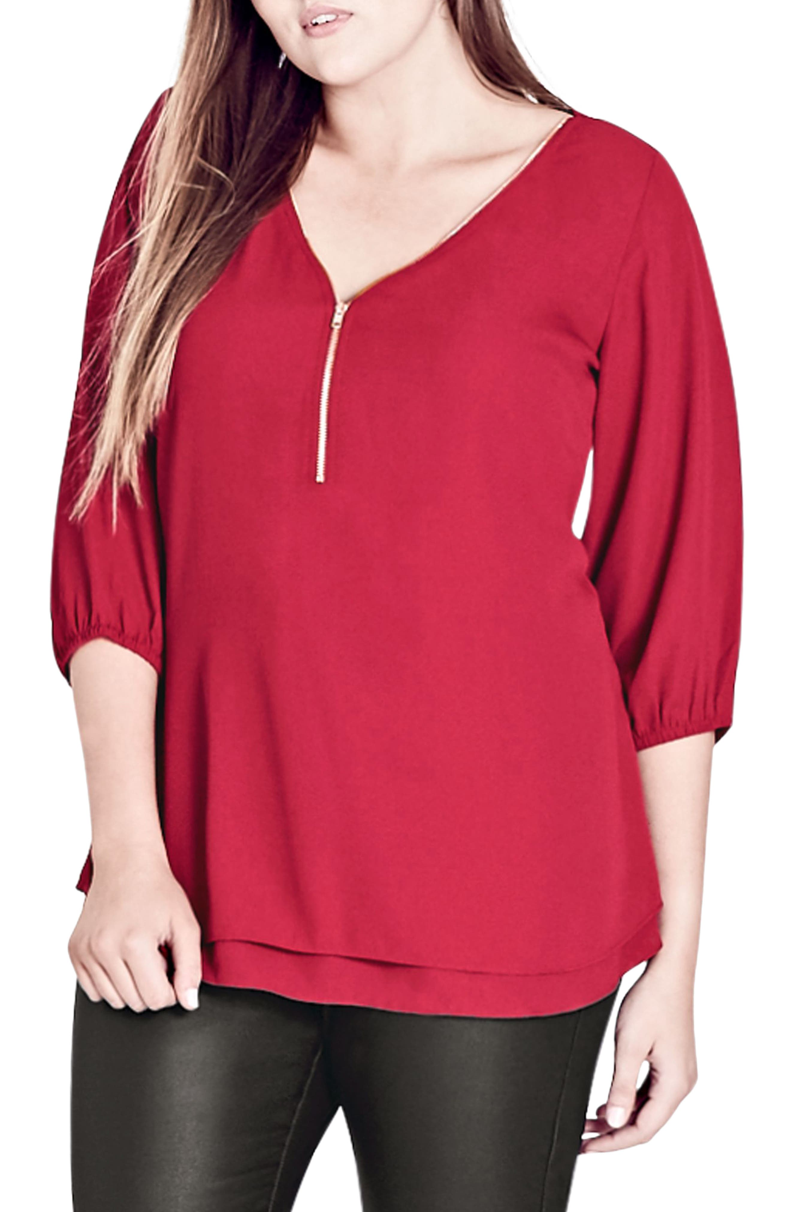 City Chic Sexy Fling Zip Front Top (Plus Size)