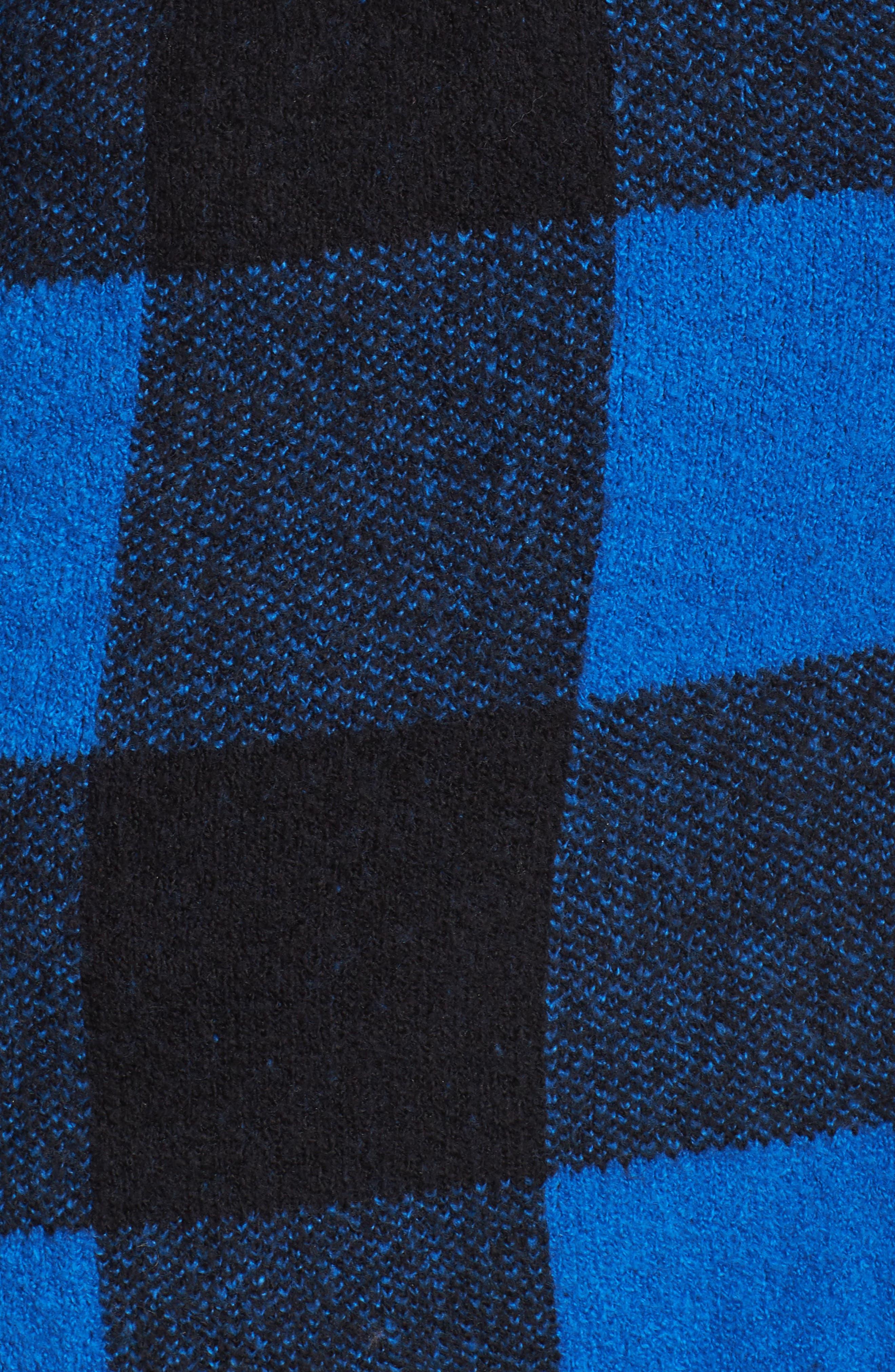 Plaid Hooded Sweater Coatigan,                             Alternate thumbnail 5, color,                             Blue Checkerboard Jacquard