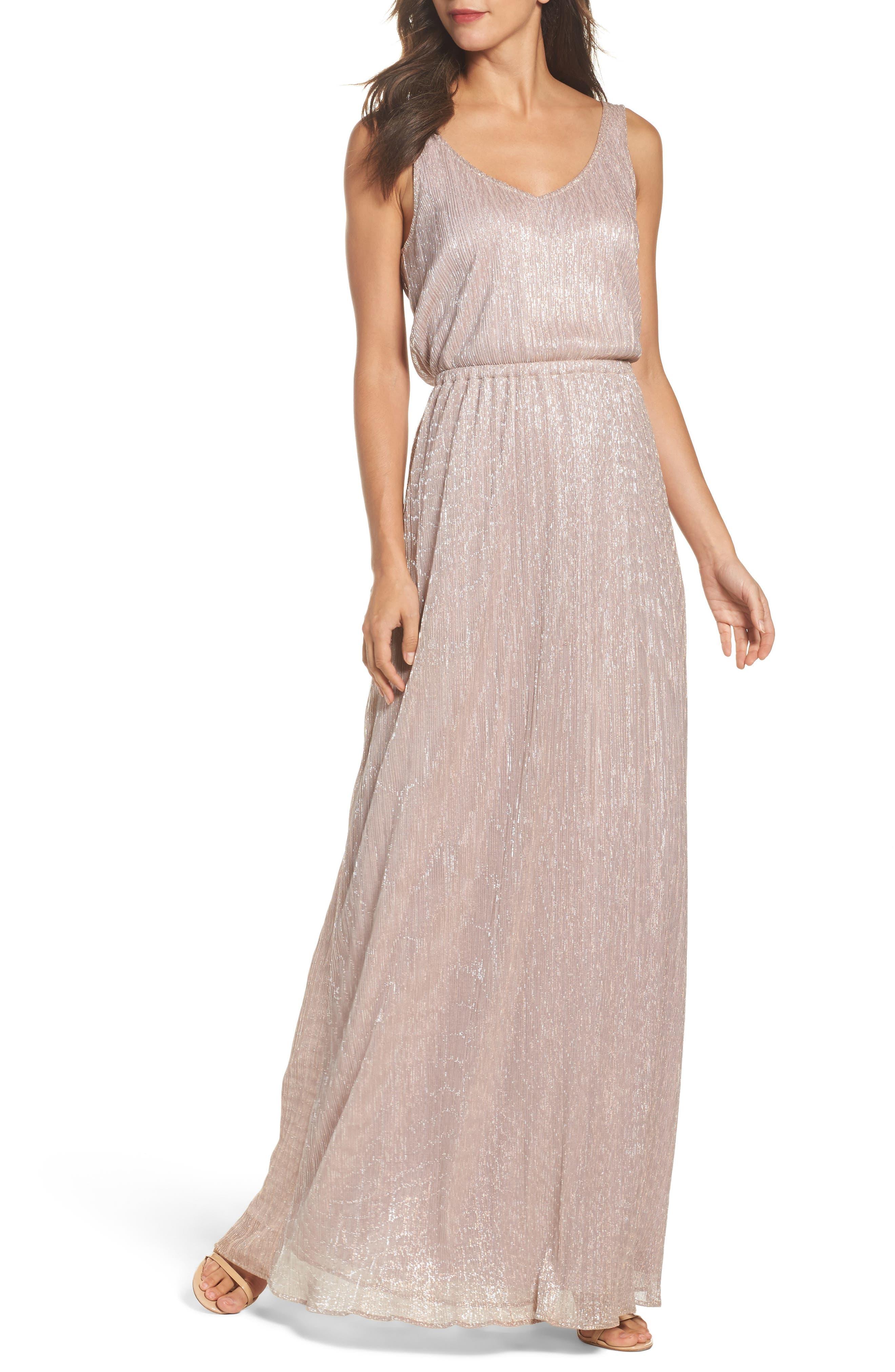 Kendall Blouson Maxi Dress,                         Main,                         color, Magic Muave Glitter