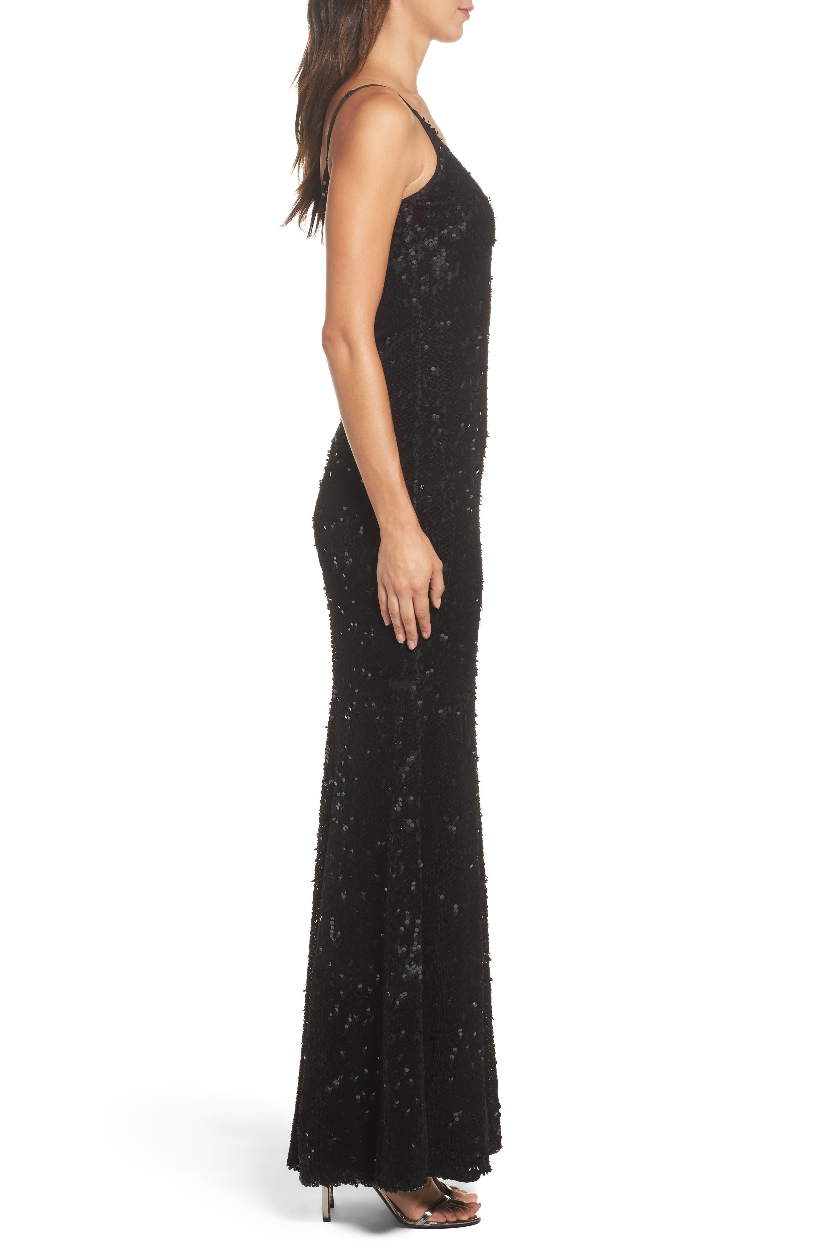 Vanessa Velvet Sequin Gown,                             Alternate thumbnail 4, color,                             Black