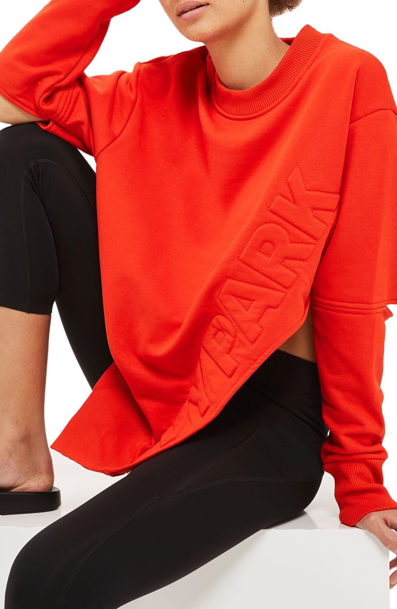Main Image - IVY PARK® Logo Embossed Sliced Sweatshirt