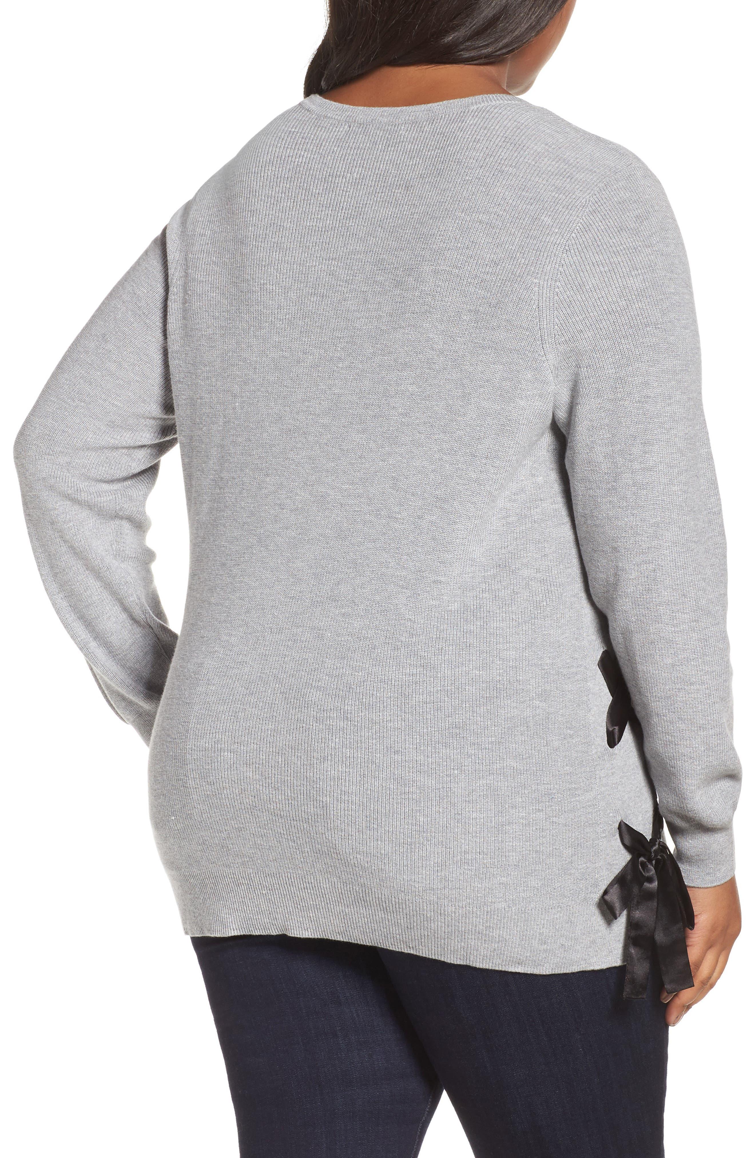 Alternate Image 2  - Sejour Lace-Up Pullover (Plus Size)