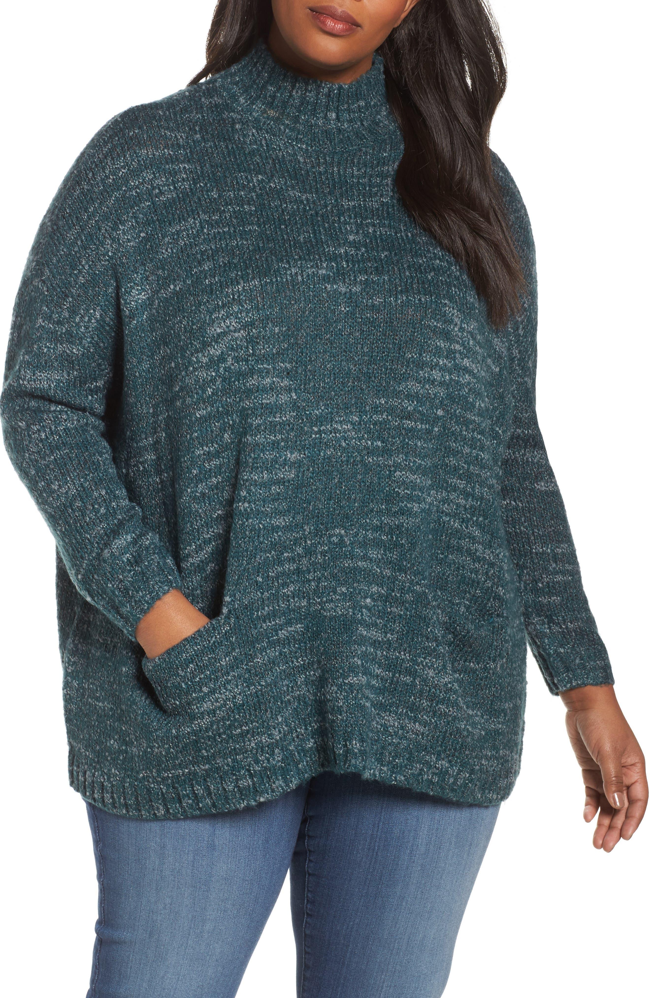Main Image - Sejour Mock Neck Knit Sweater (Plus Size)
