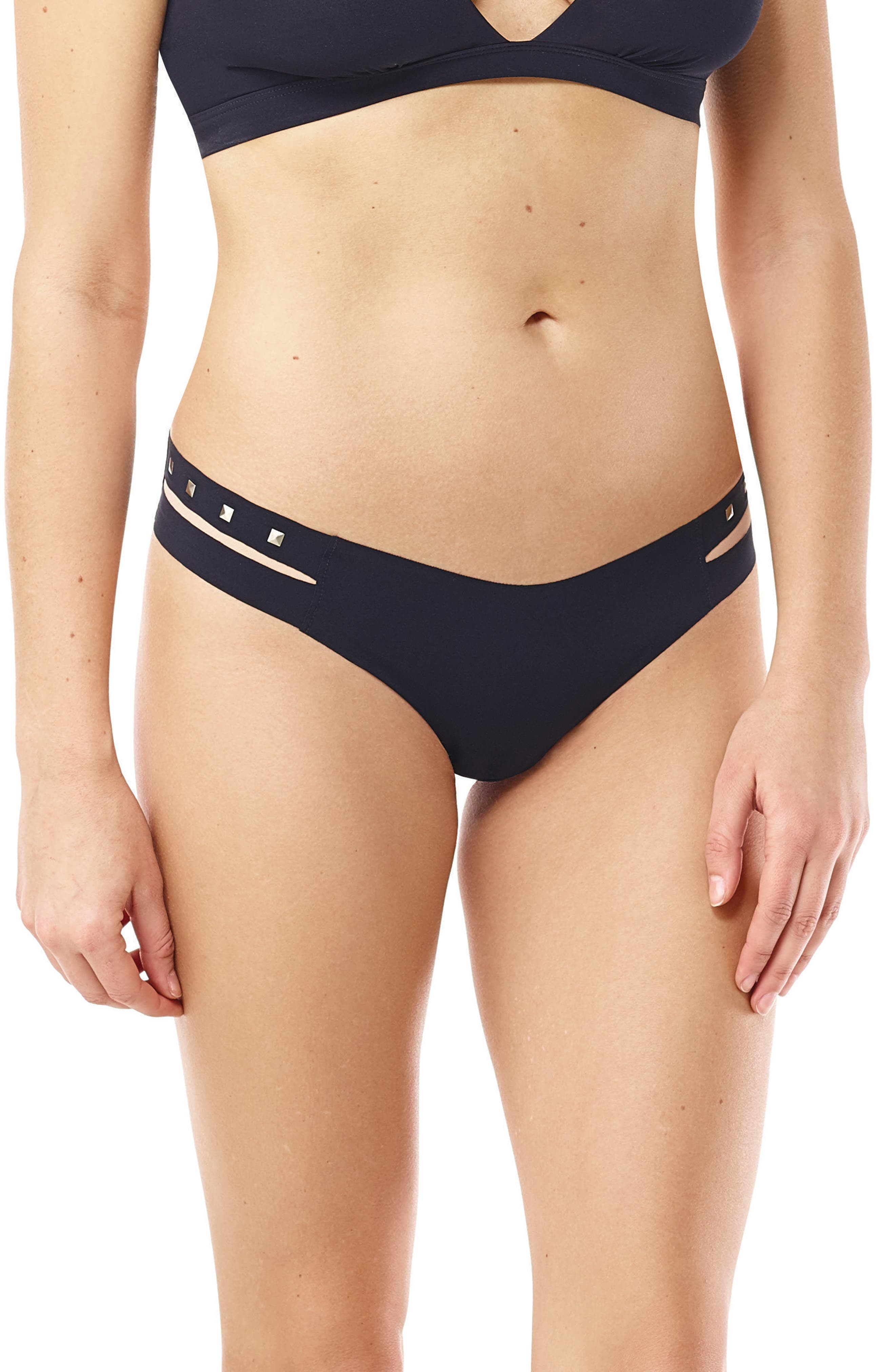 Stripped Studded Thong,                         Main,                         color, Black