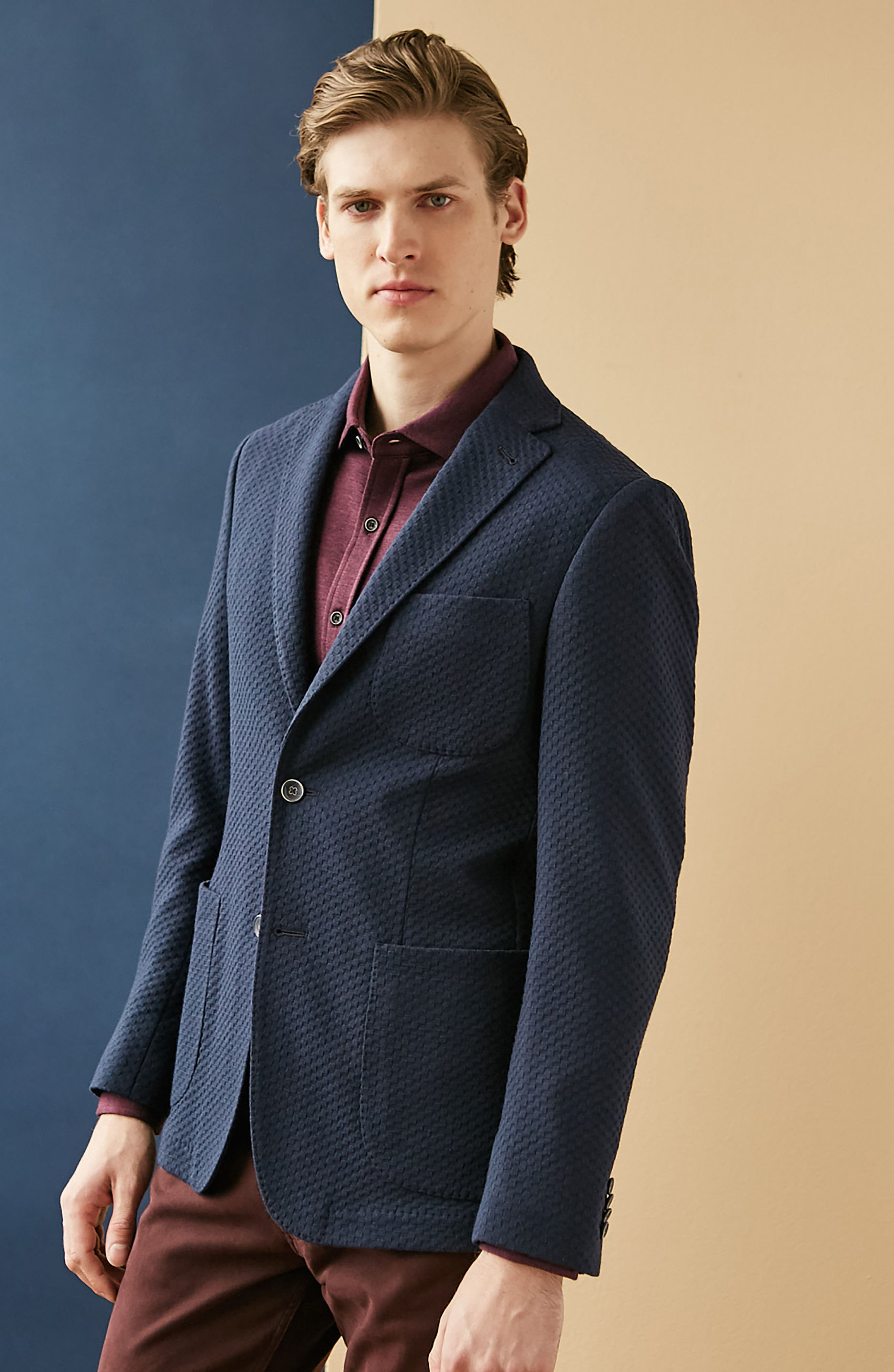 Textured Blazer,                             Alternate thumbnail 7, color,                             Navy