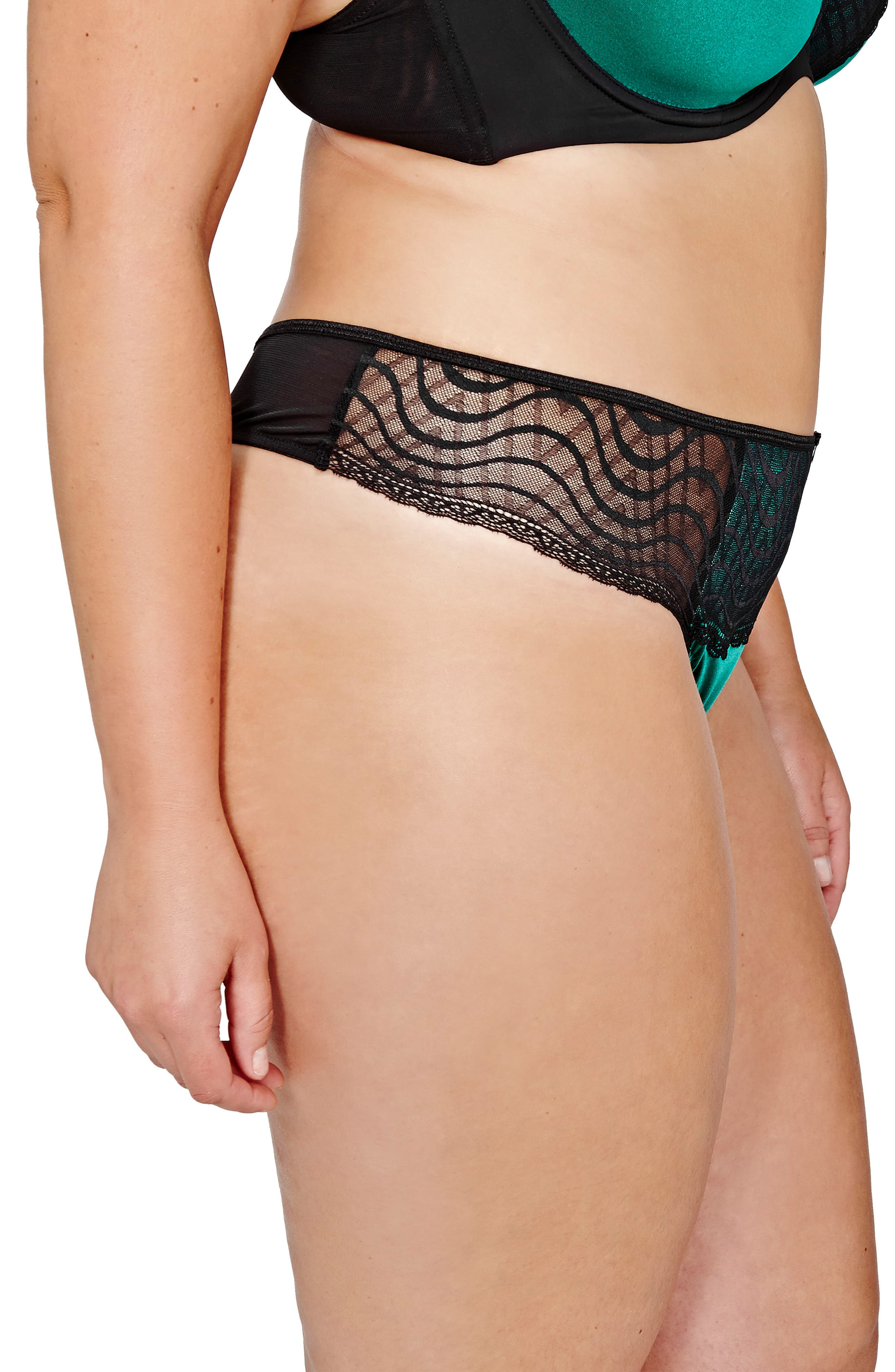 Lace Thong,                             Alternate thumbnail 2, color,                             Green With Envy