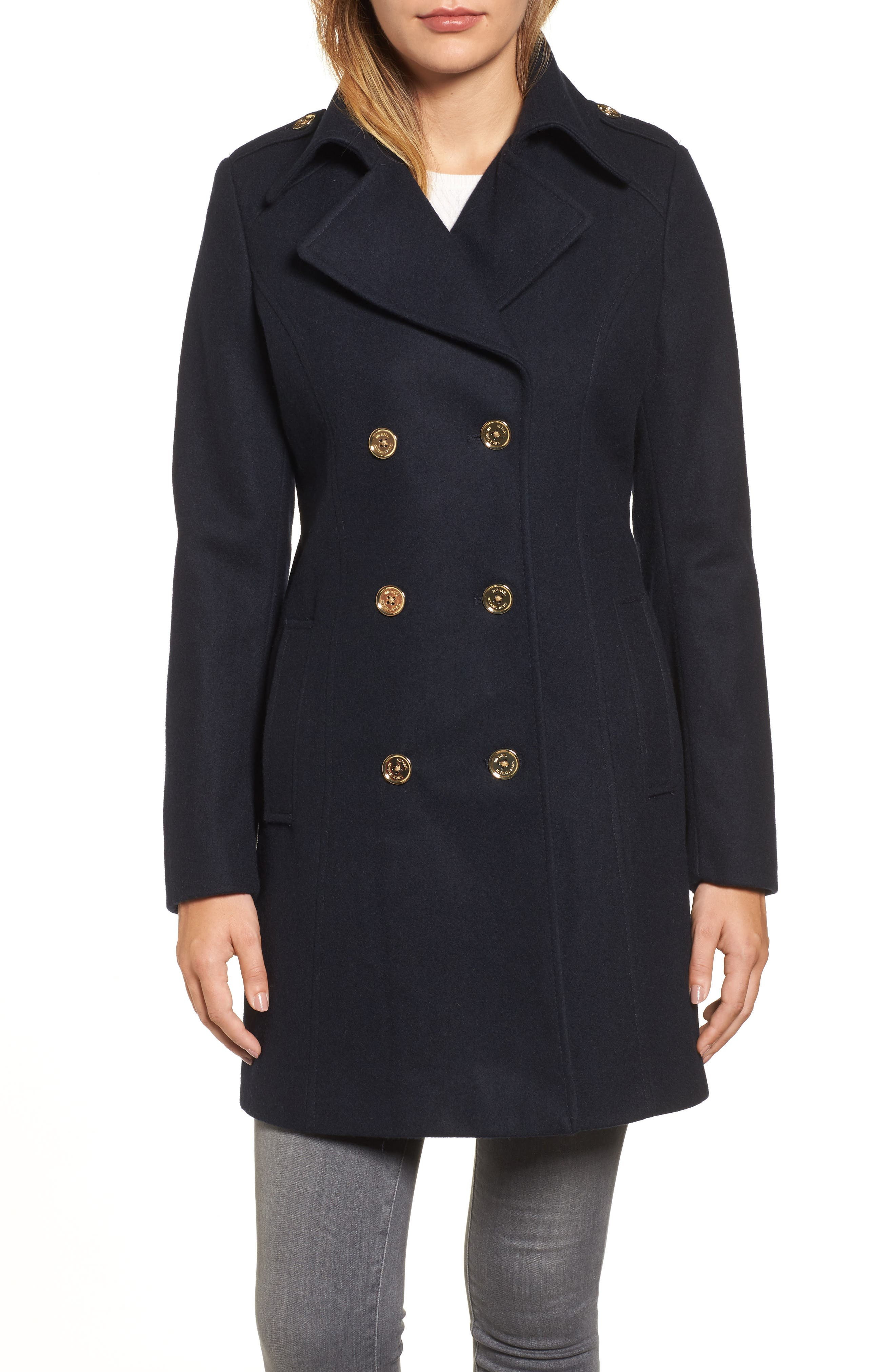 Double Breasted Wool Blend Peacoat,                             Main thumbnail 1, color,                             Navy