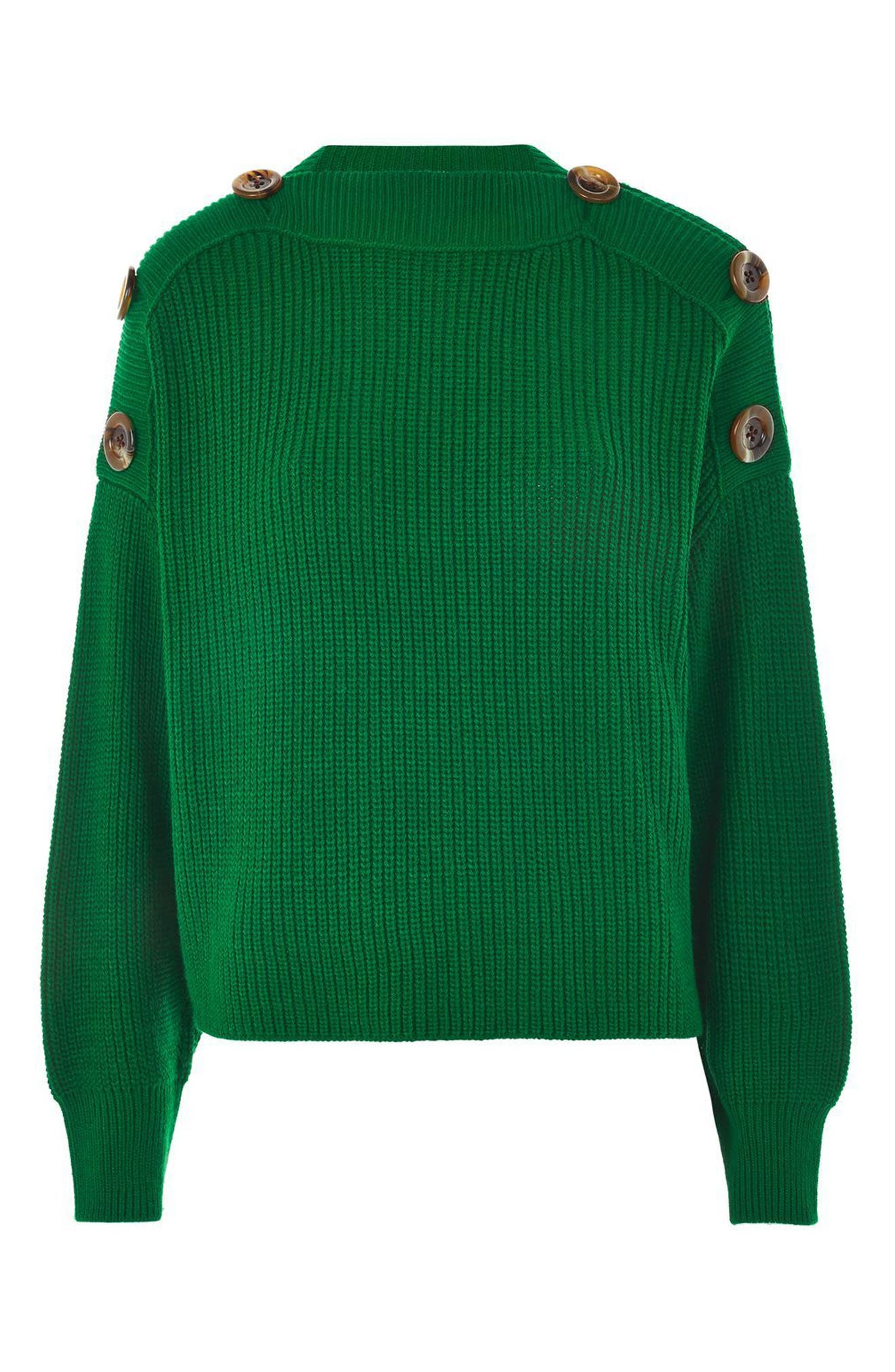 Button Slash Knit Sweater,                             Alternate thumbnail 4, color,                             Green