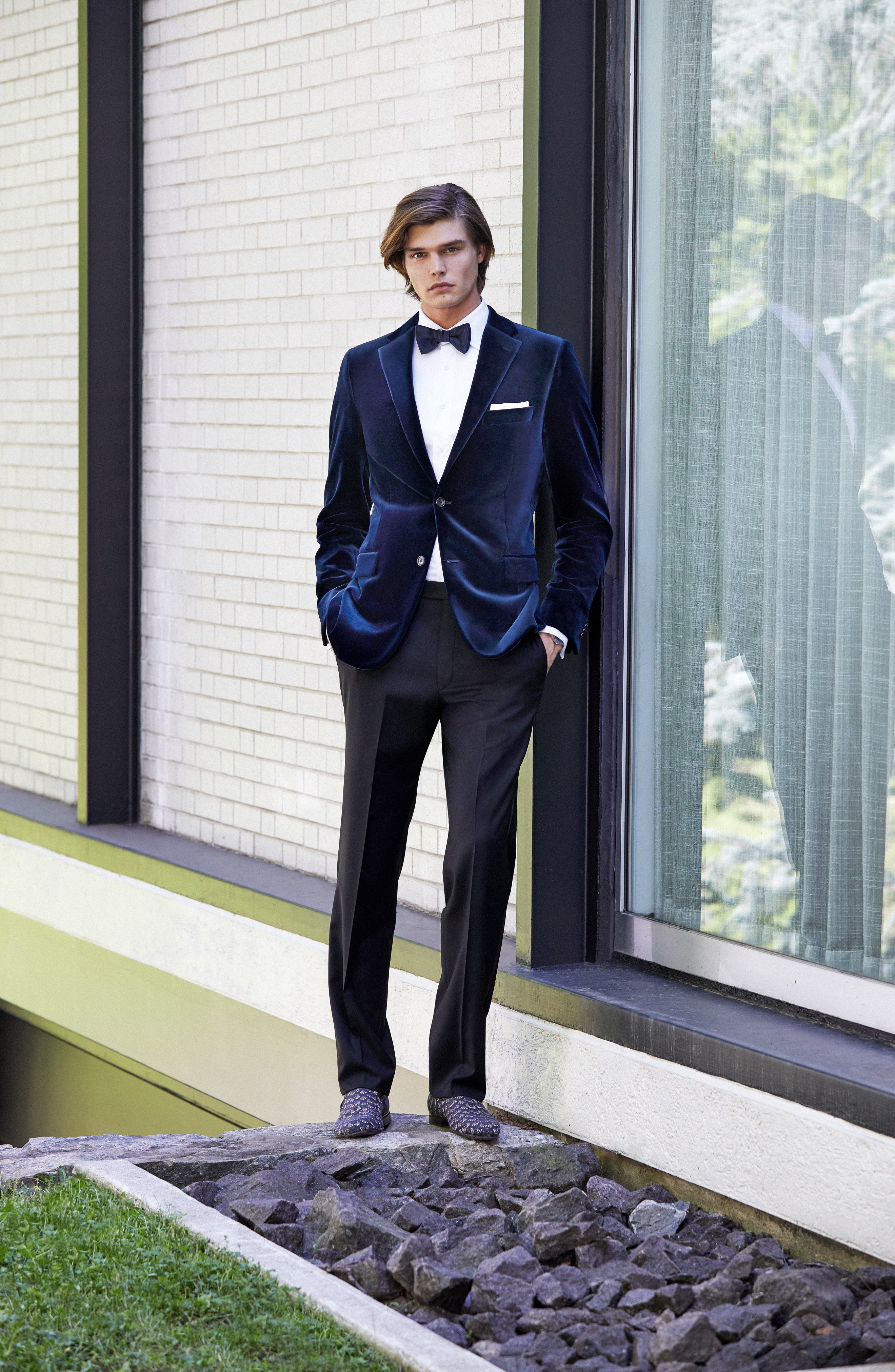 Alternate Image 6  - Hickey Freeman Classic B Fit Stretch Velvet Dinner Jacket
