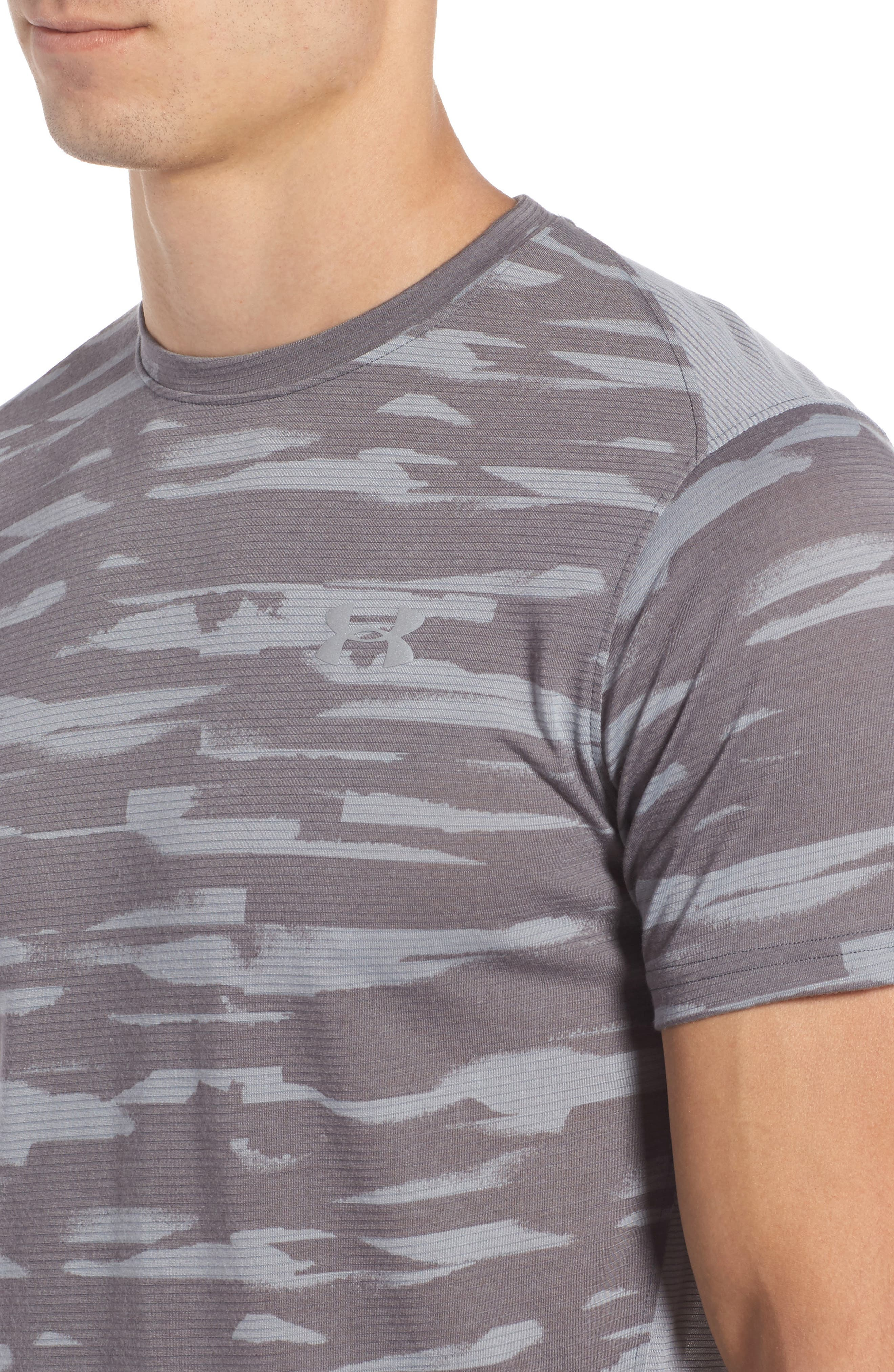 Threadborne Mesh Running T-Shirt,                             Alternate thumbnail 4, color,                             Grey / Black / Reflective