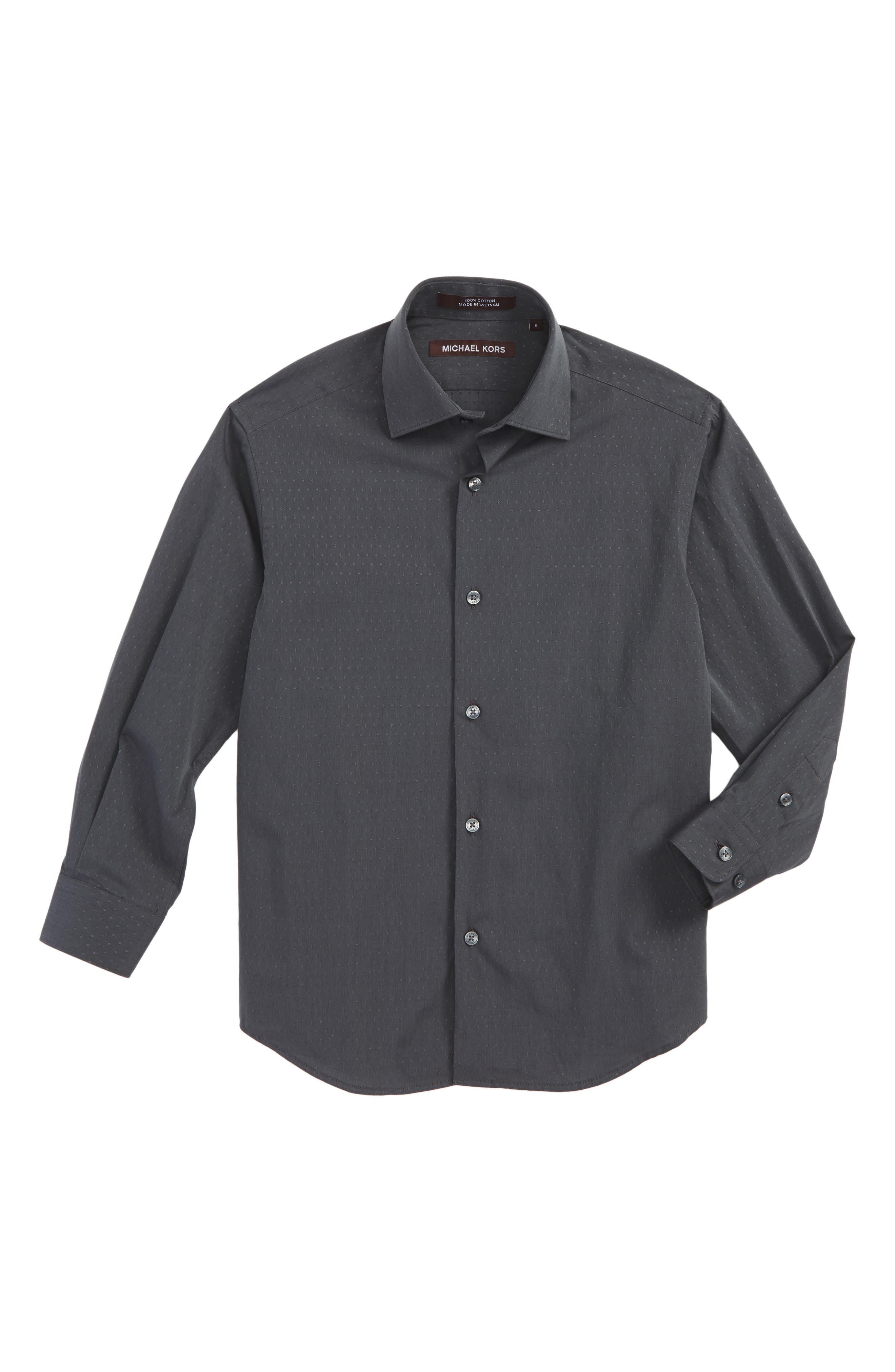 Dobby Dress Shirt,                             Main thumbnail 1, color,                             Black