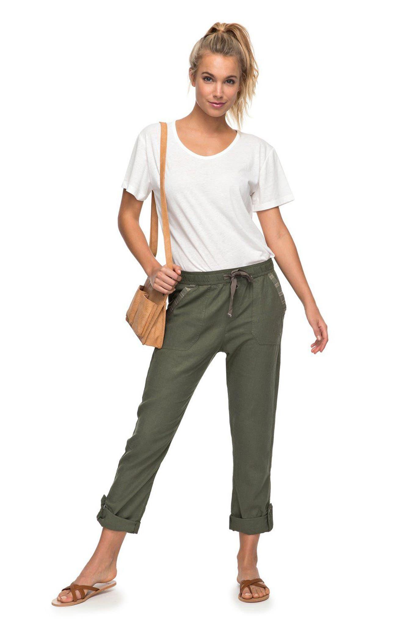 Symphony Lover Linen Blend Pants,                             Alternate thumbnail 2, color,                             Dusty Olive