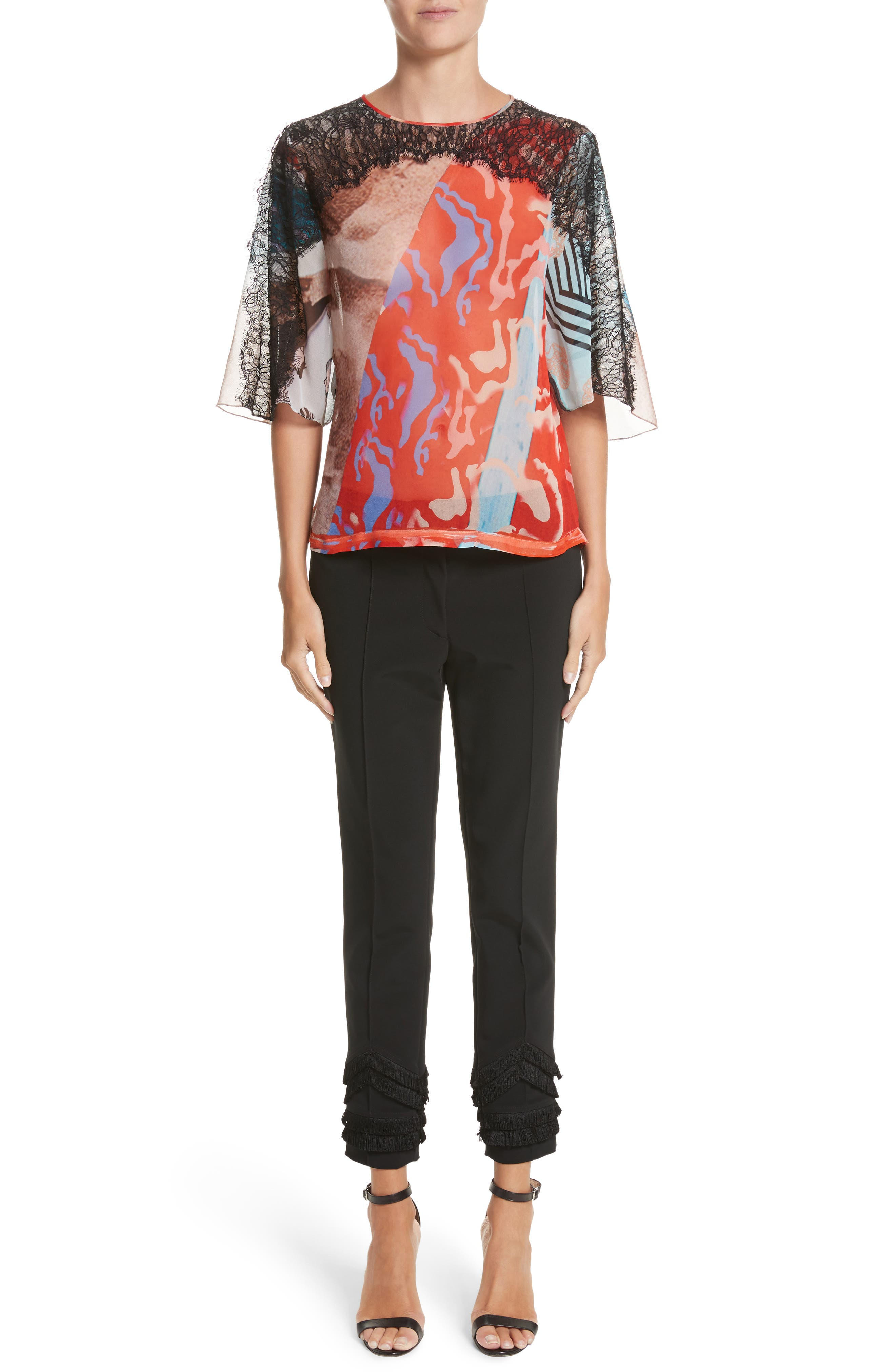 Alternate Image 7  - Yigal Azrouël Lace & Print Silk Top