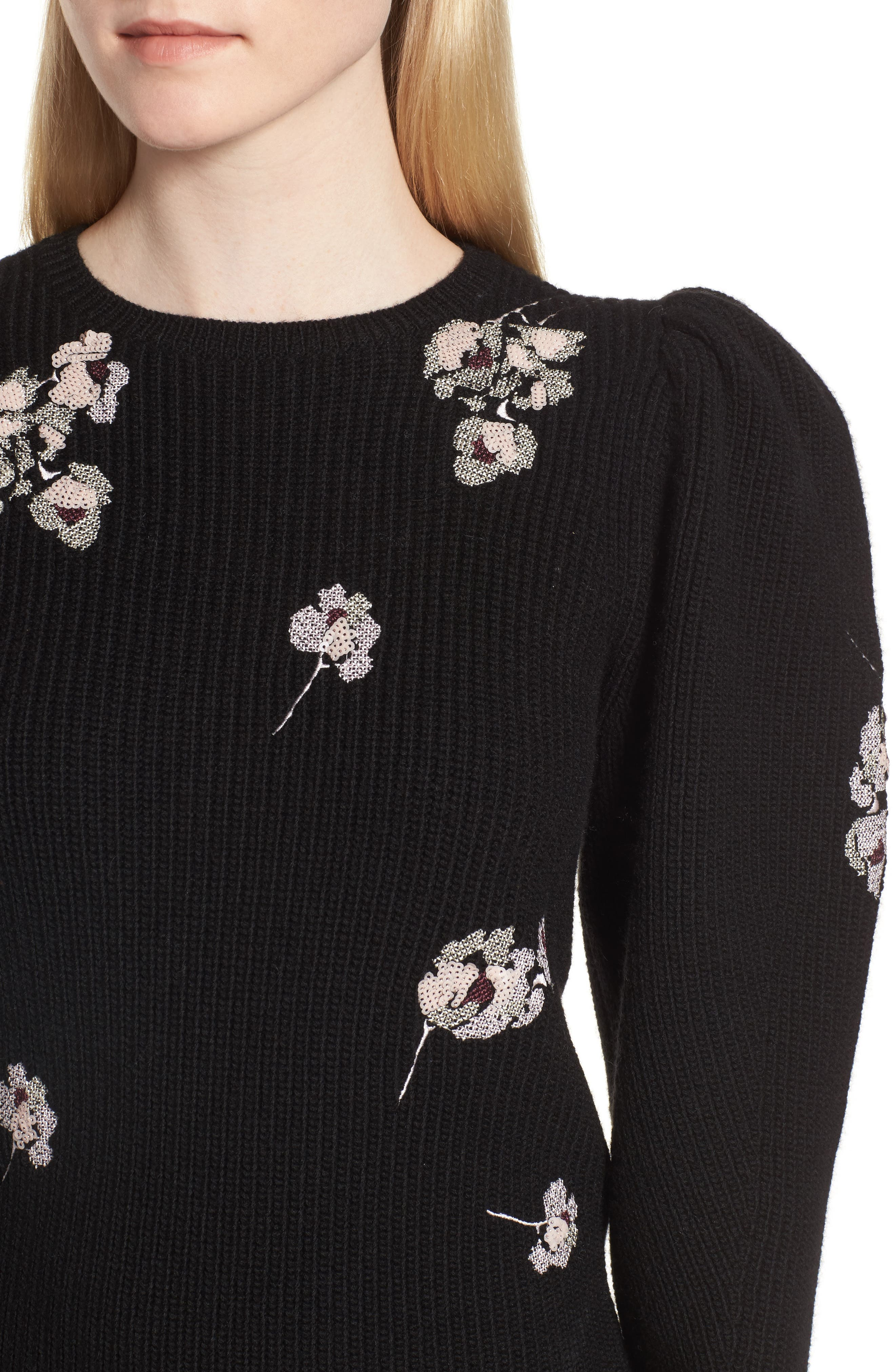 Embroidered Poet Sleeve Merino Wool Sweater,                             Alternate thumbnail 4, color,                             Black Embroidery