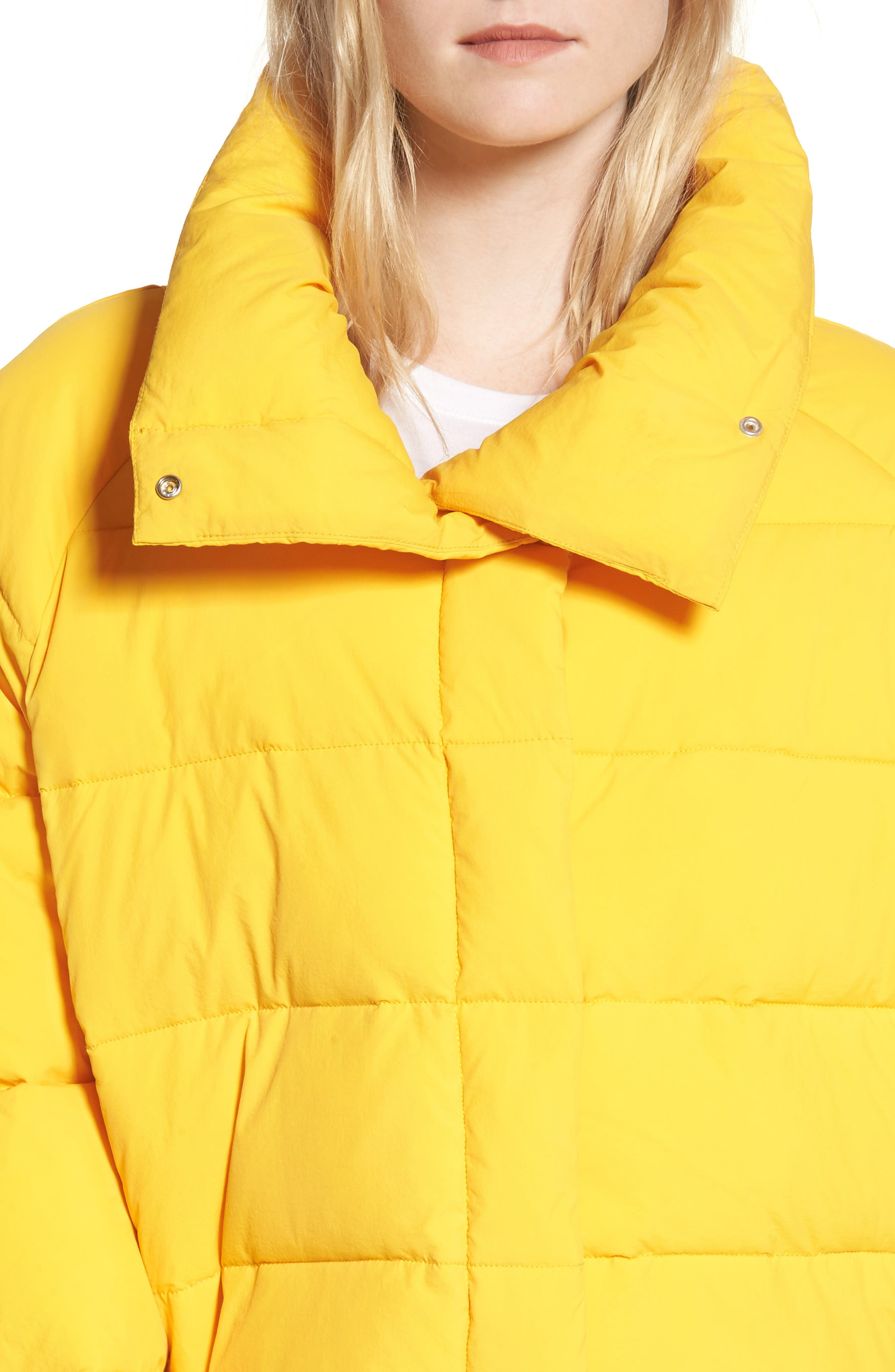 Puffer Coat,                             Alternate thumbnail 5, color,                             Yellow