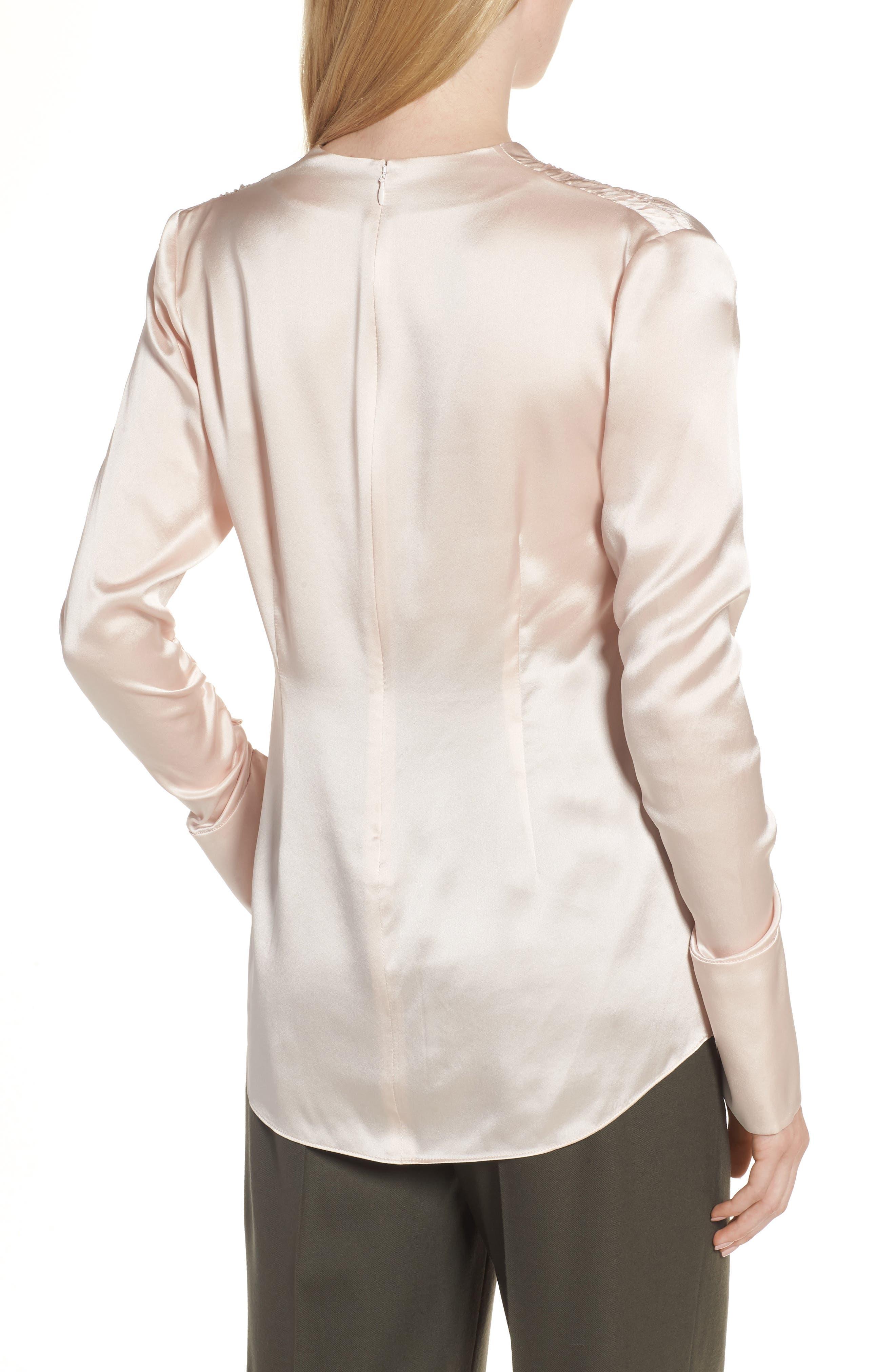 Satin V-Neck Ruched Silk Blouse,                             Alternate thumbnail 2, color,                             Pink Wisp