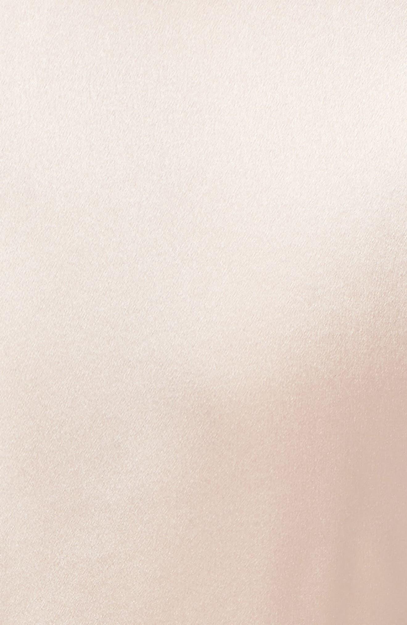 Satin V-Neck Ruched Silk Blouse,                             Alternate thumbnail 5, color,                             Pink Wisp