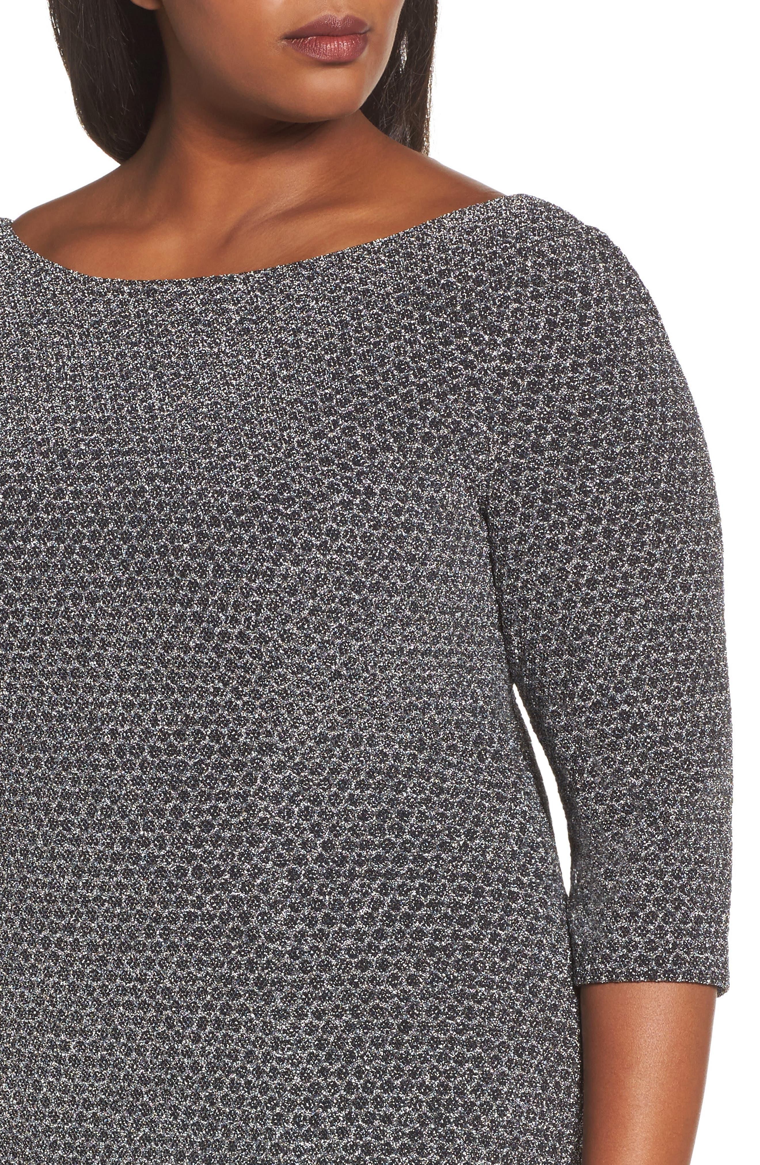 Glitter Knit Sheath Dress,                             Alternate thumbnail 5, color,                             Gunmetal/ Black