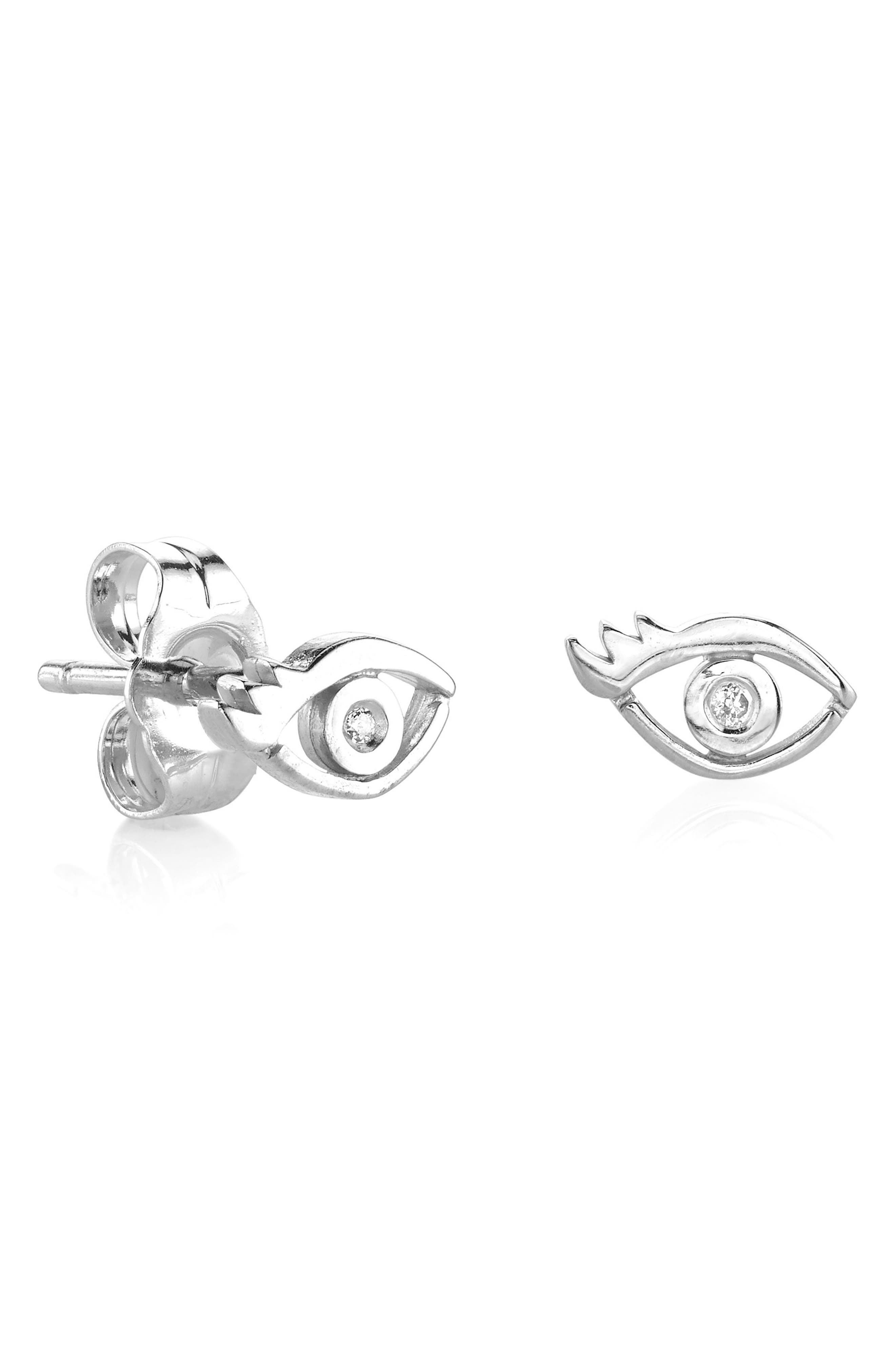 Evil Eye Diamond Stud Earrings,                             Main thumbnail 1, color,                             Silver