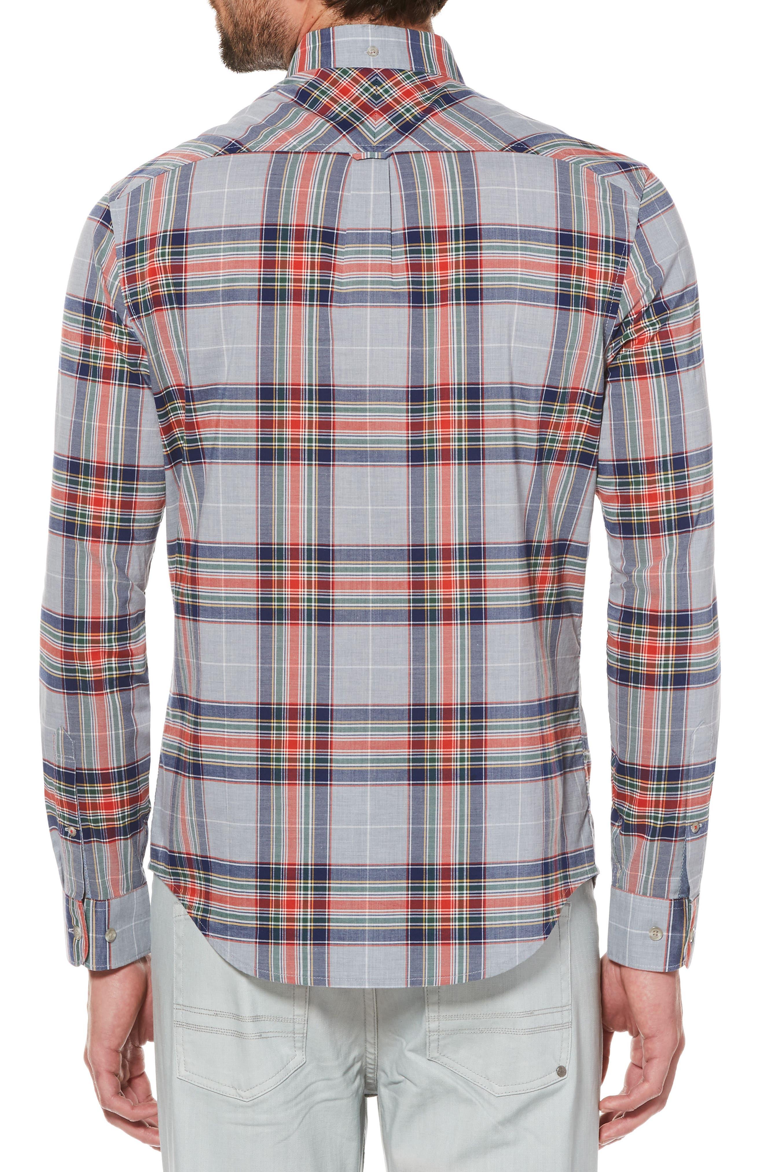 P55 Heritage Slim Fit Plaid Shirt,                             Alternate thumbnail 2, color,                             Athletic Grey