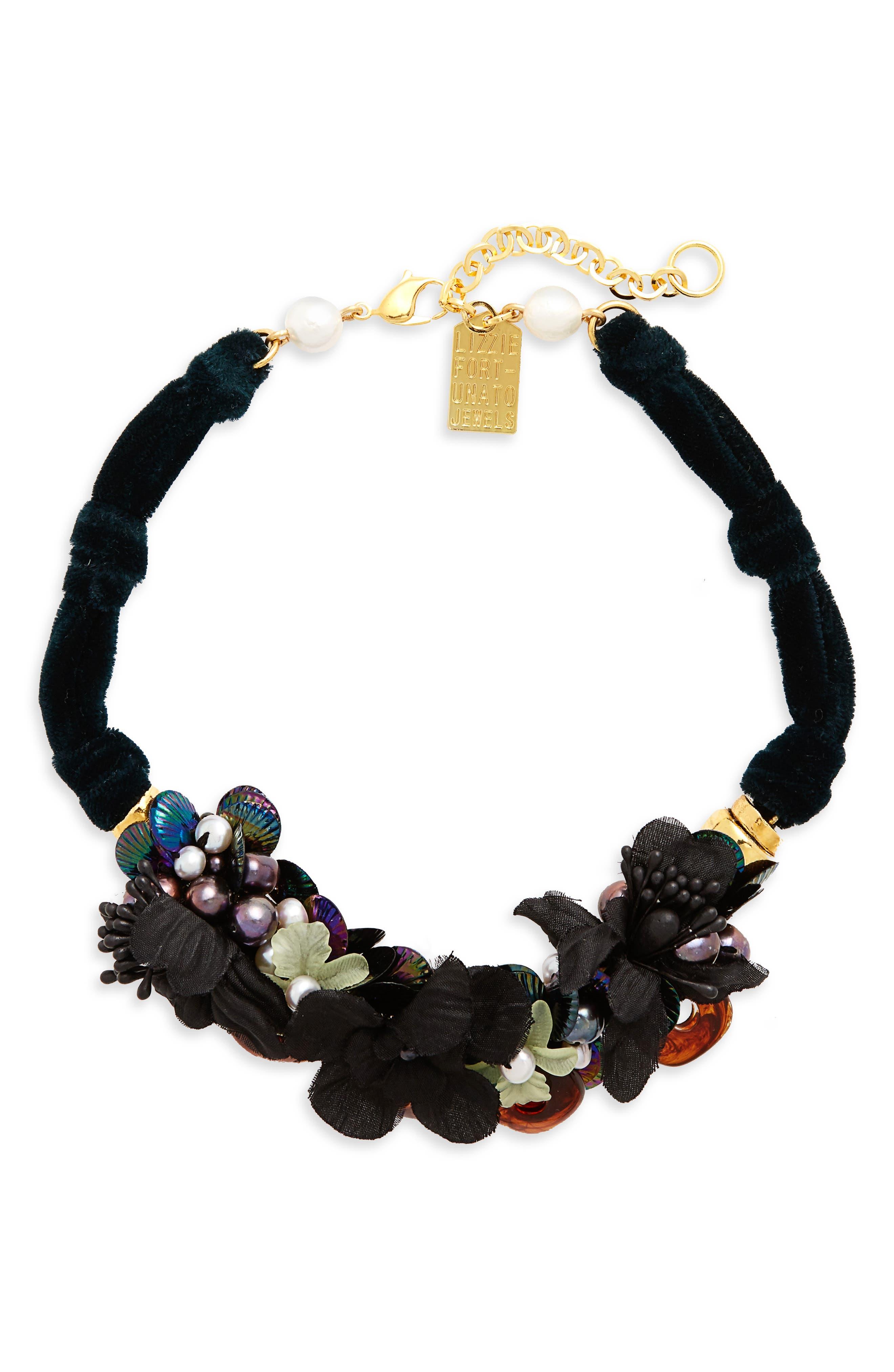 Main Image - Lizzie Fortunato Grasslands Velvet Collar Necklace