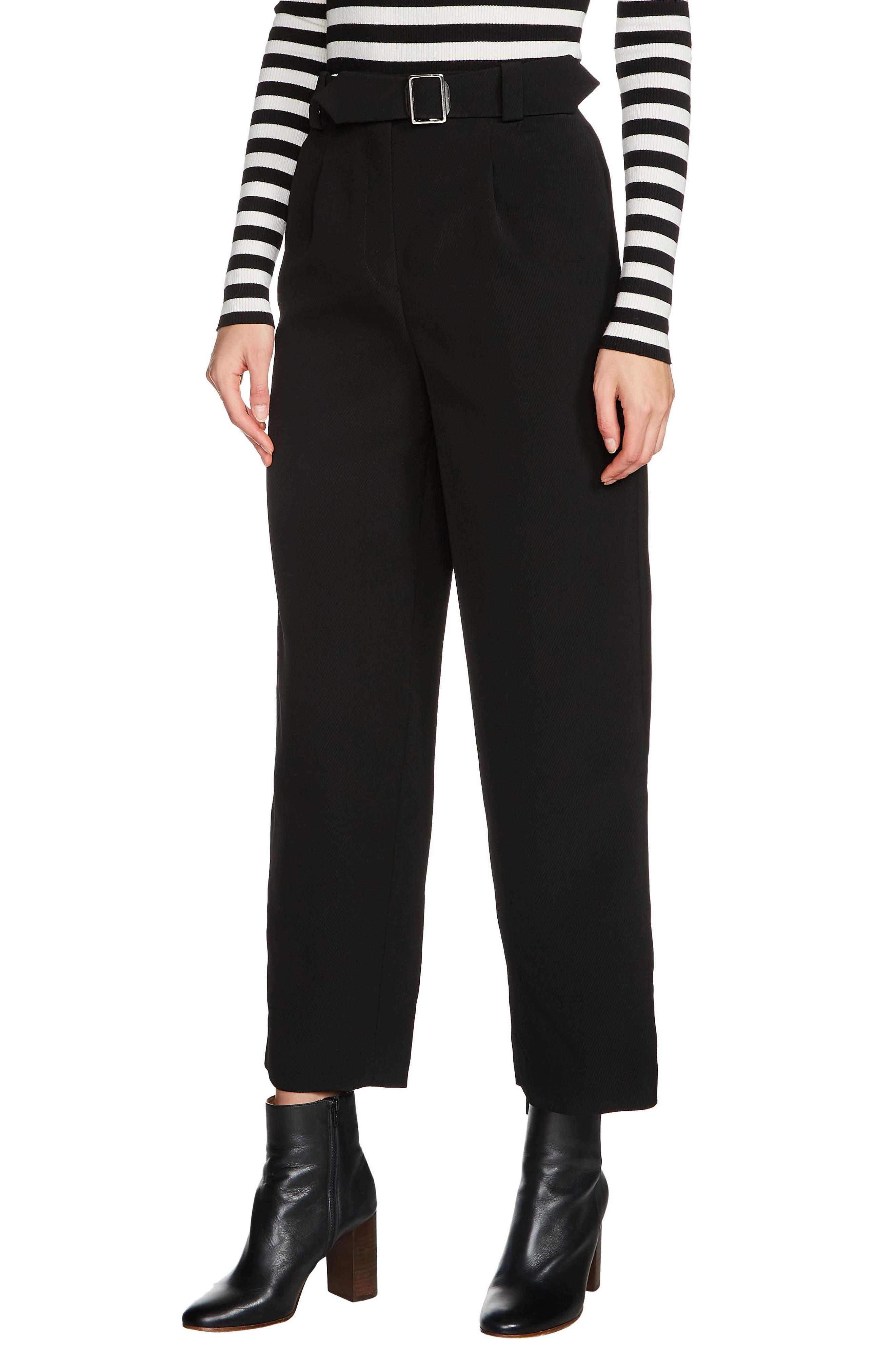 maje Belted High Waist Crop Pants