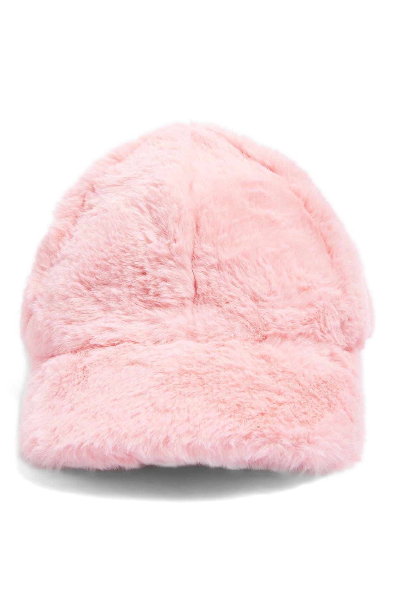 Faux Fur Baseball Cap,                             Alternate thumbnail 3, color,                             Pink