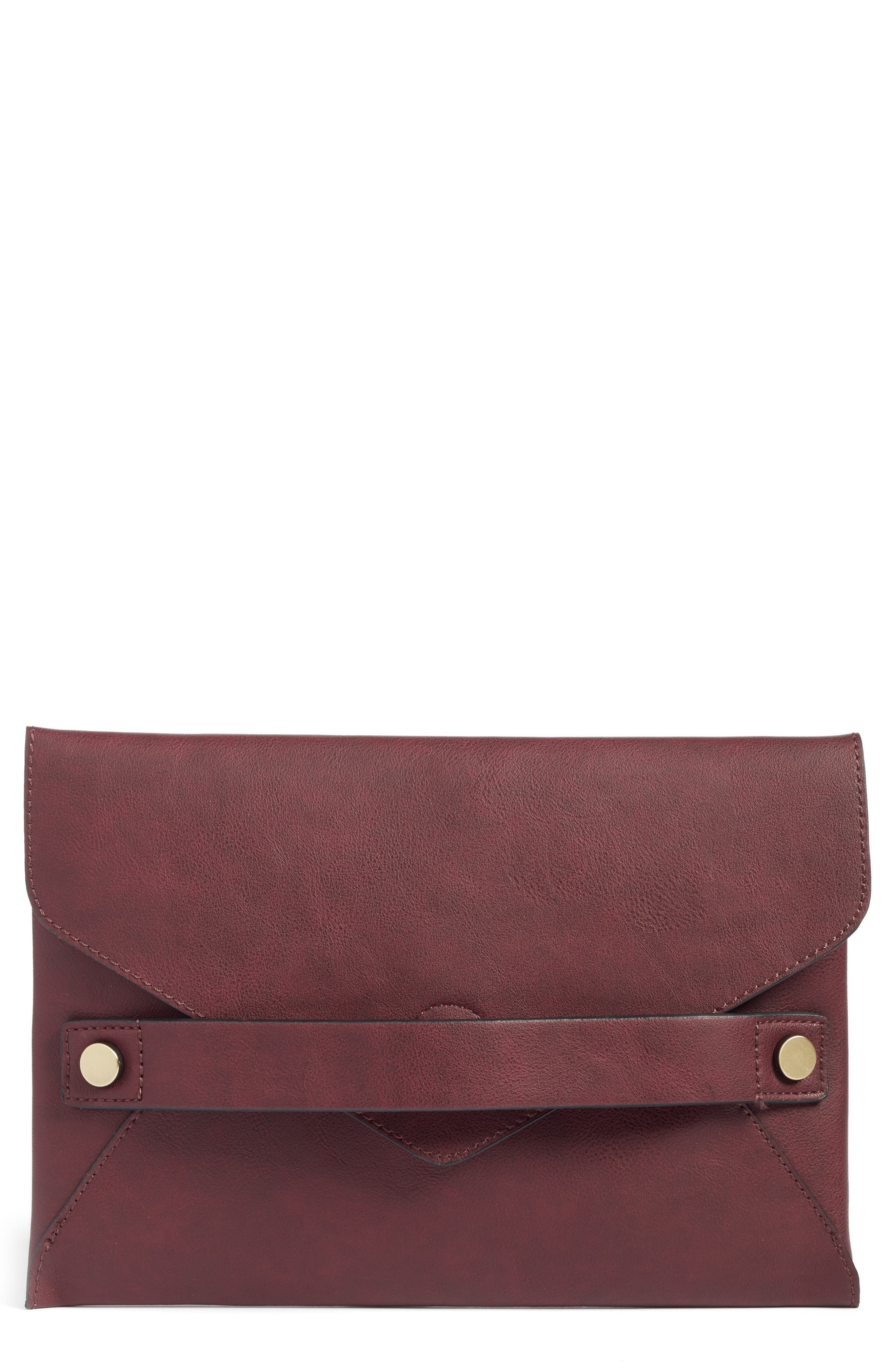 Sole Society Karen Faux Leather Envelope Clutch