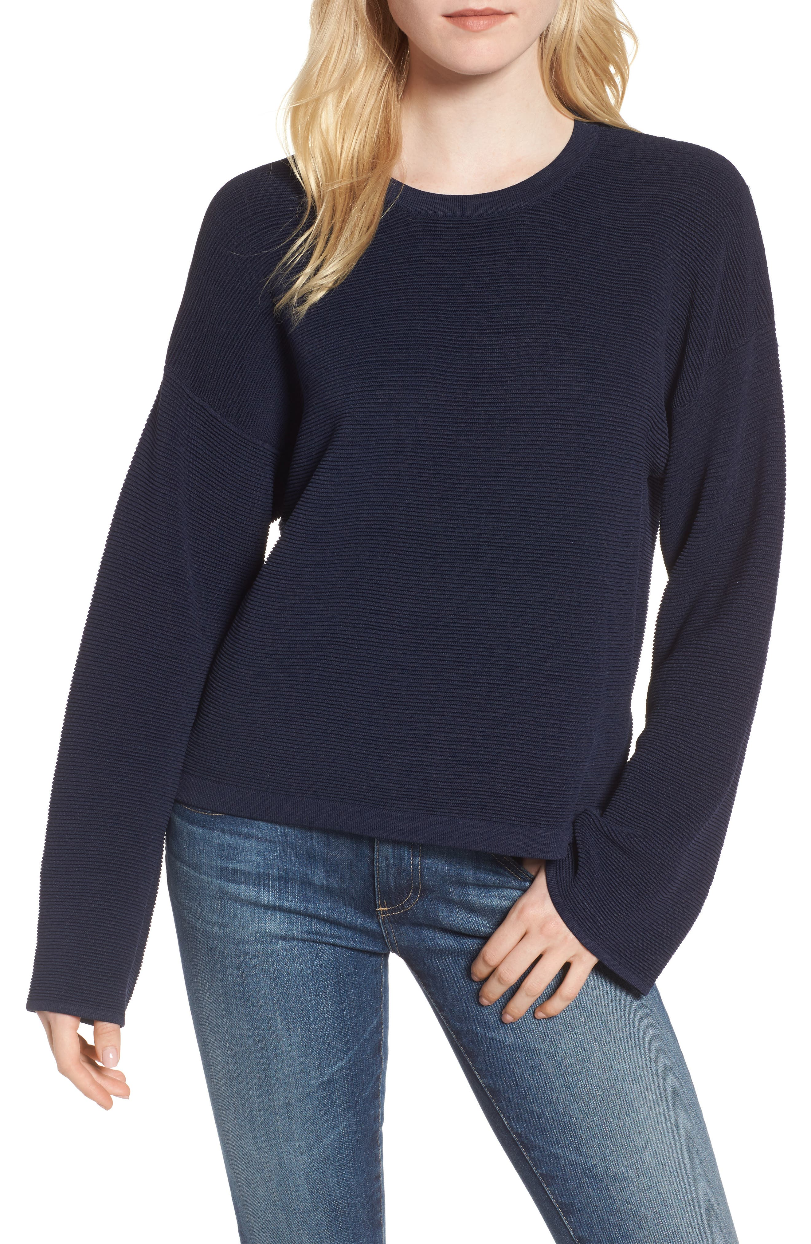 Cutout Ribbed Sweater,                         Main,                         color, Navy