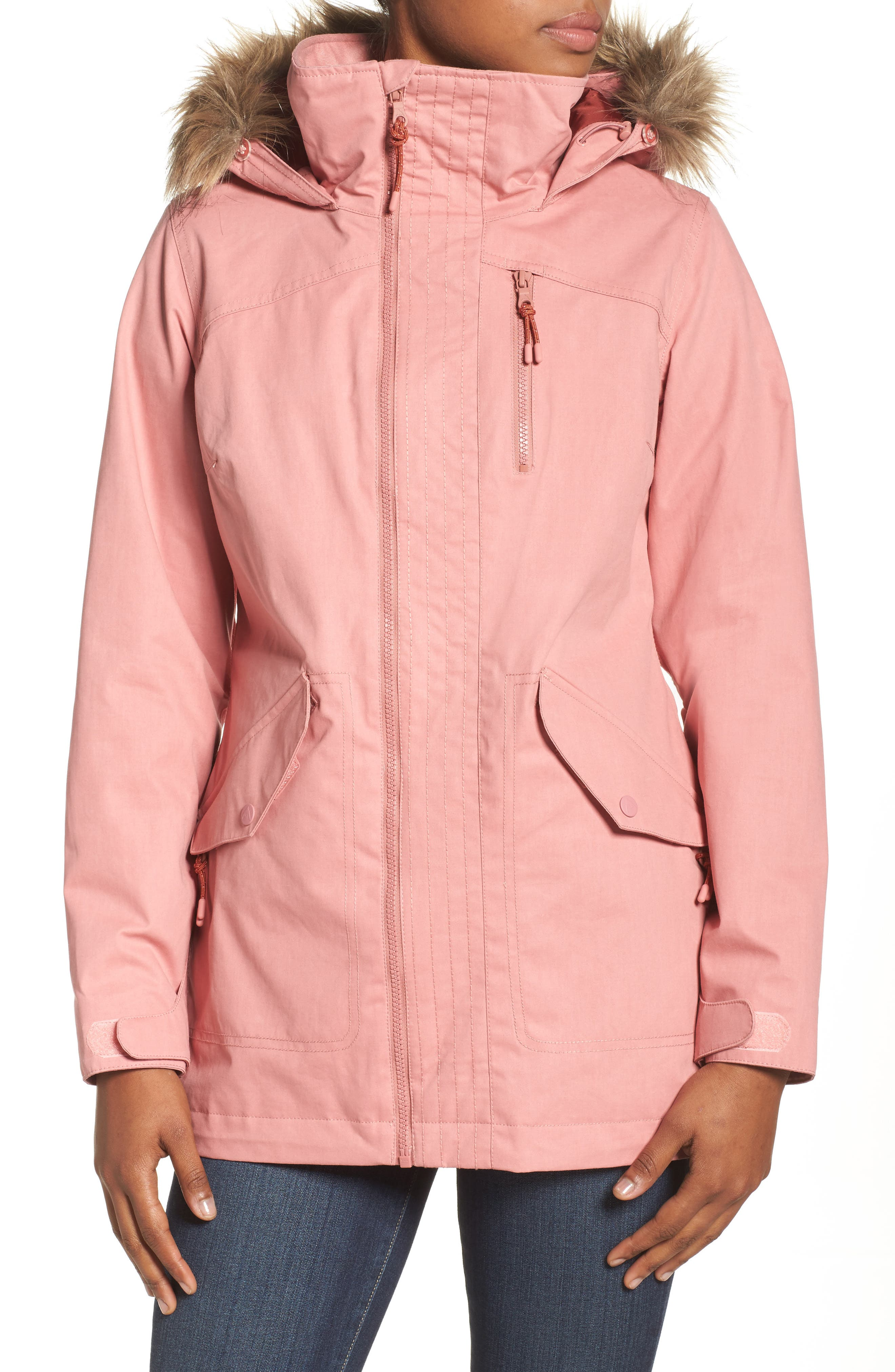 Hazel Waterproof Hooded Jacket with Removable Faux Fur Trim,                             Alternate thumbnail 4, color,                             Dusty Rose Wax