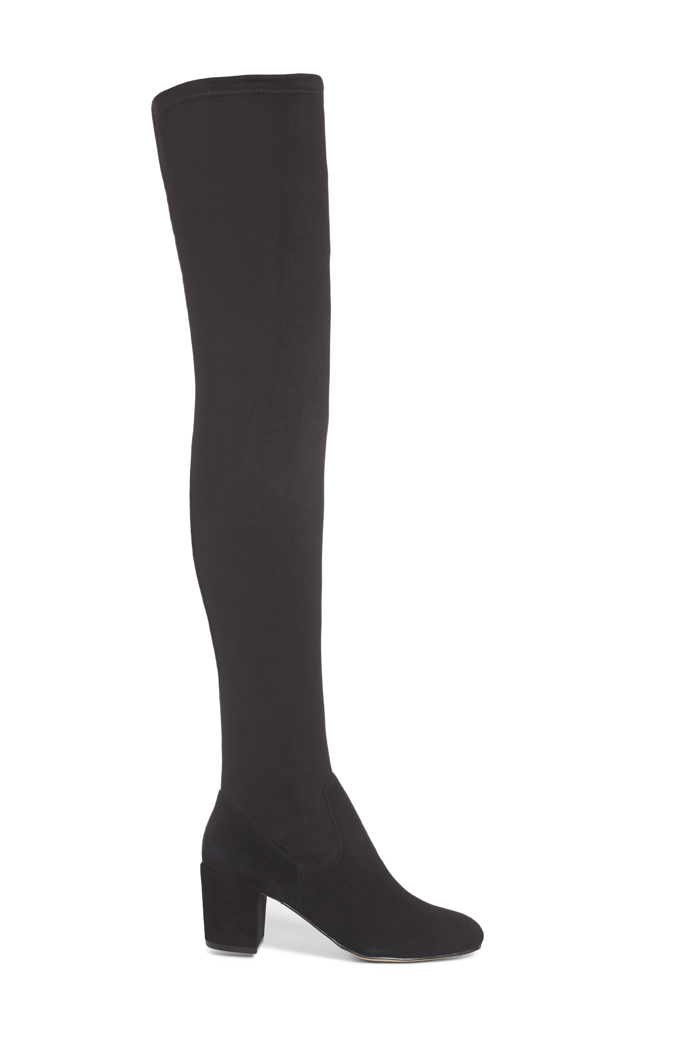 M4D3 Sobrina Over the Knee Boot,                             Alternate thumbnail 3, color,                             Black Suede/ Black Fabric